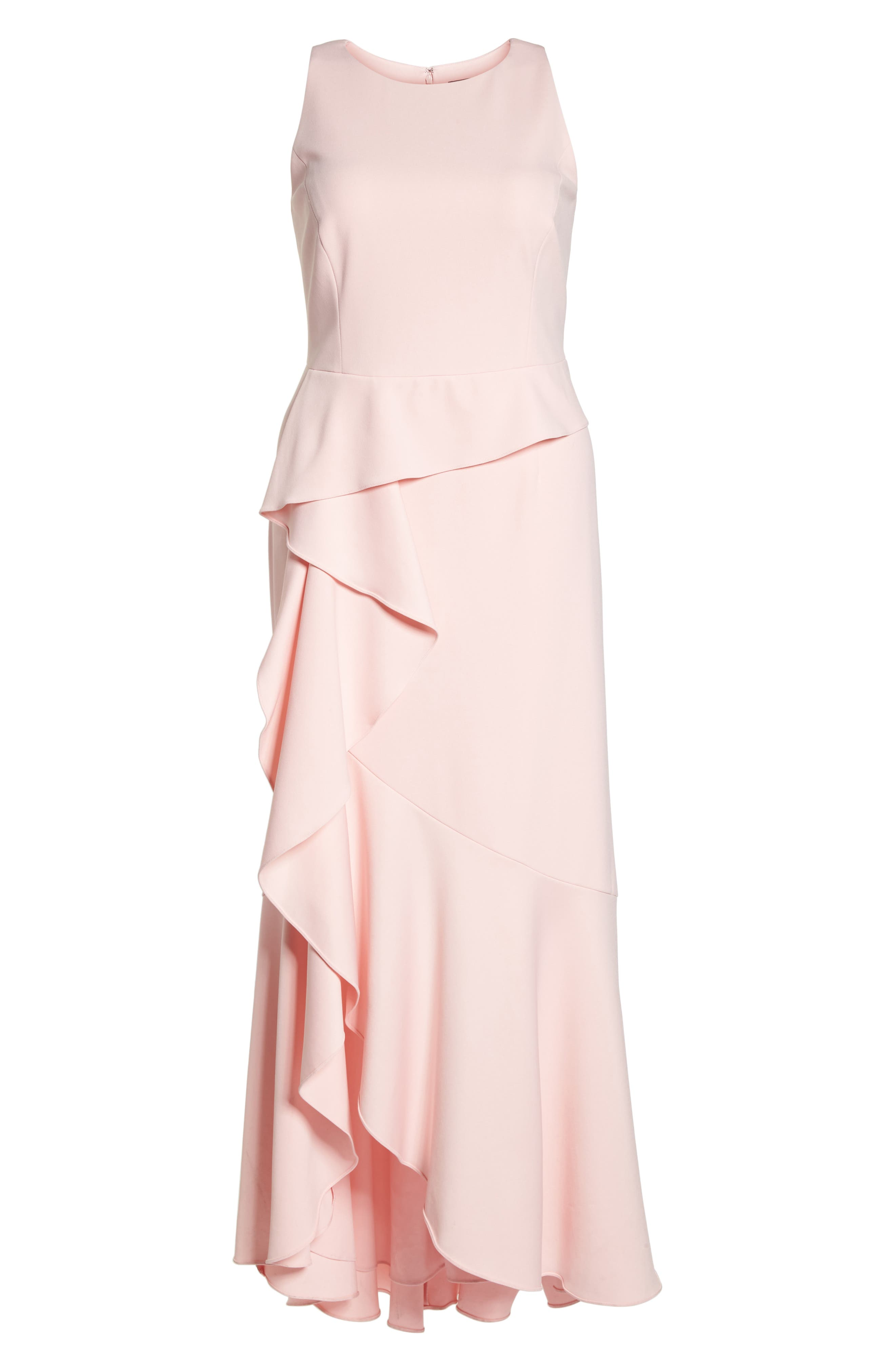 Cascade Crepe Gown,                             Alternate thumbnail 6, color,                             Pale Shell