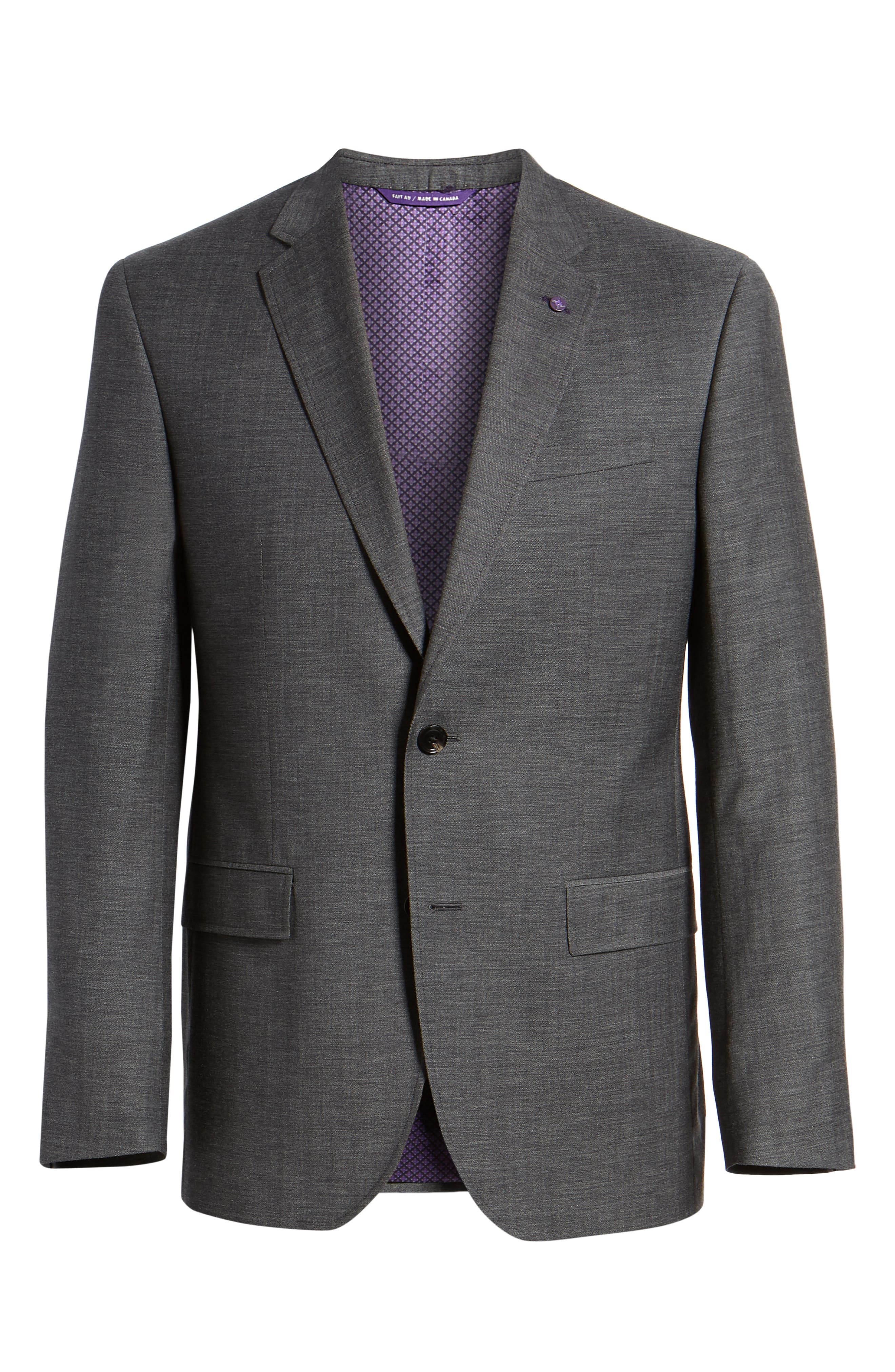Jay Trim Fit Heathered Wool & Cotton Sport Coat,                             Alternate thumbnail 6, color,                             Grey