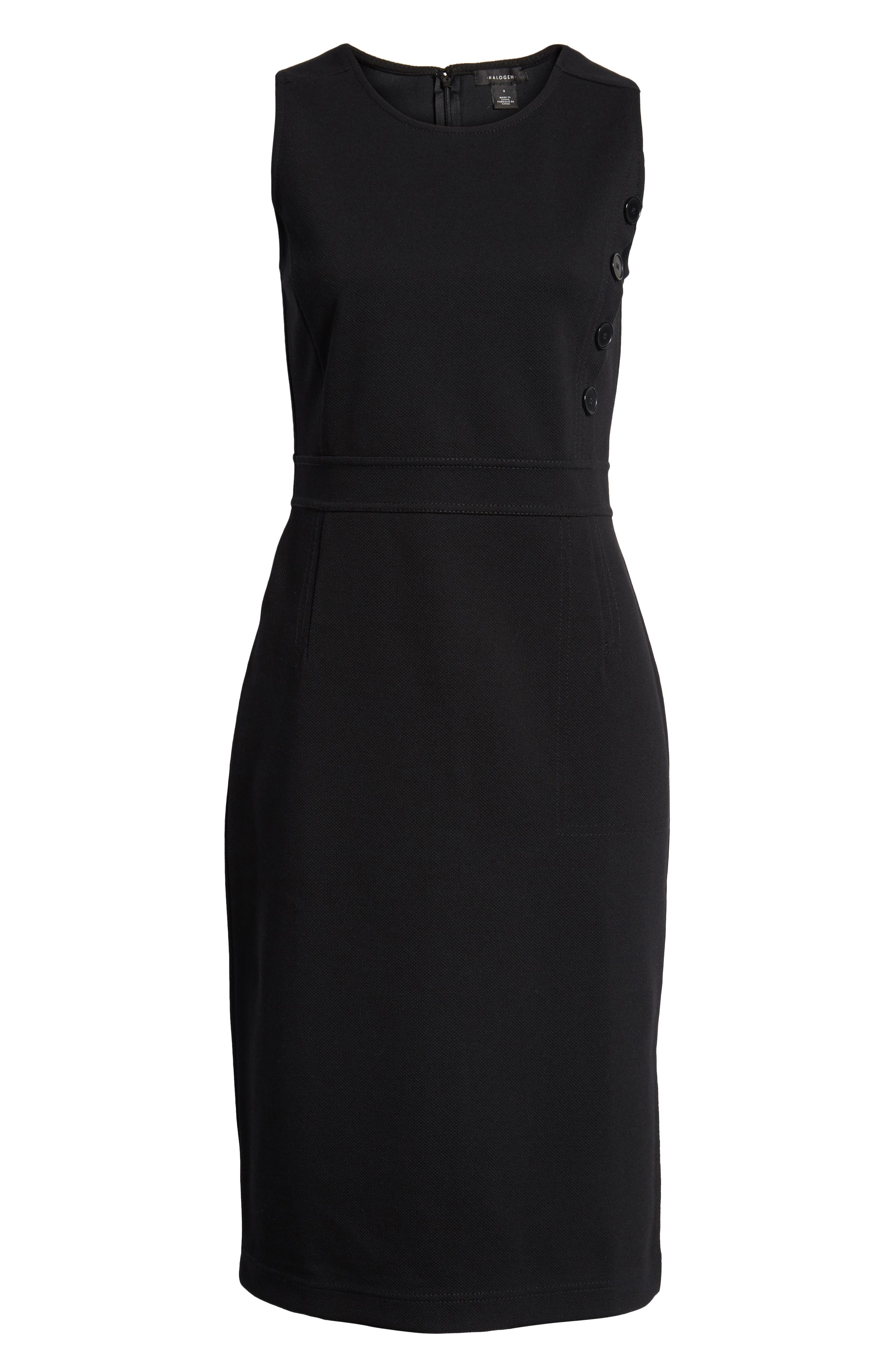 Knit Sheath Dress,                             Alternate thumbnail 7, color,                             Black