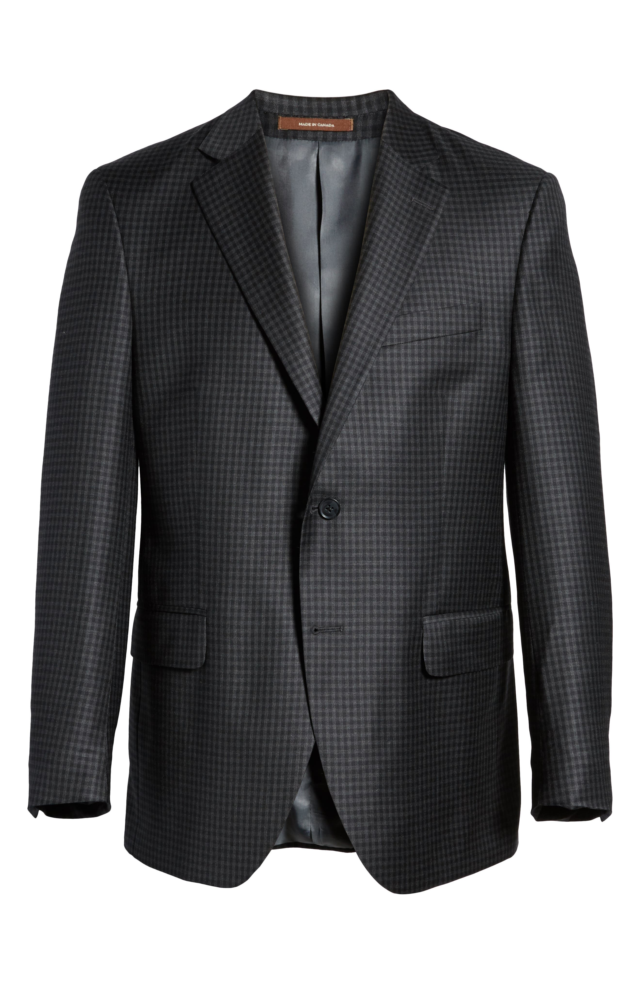 Classic Fit Check Wool Sport Coat,                             Alternate thumbnail 6, color,                             Charcoal