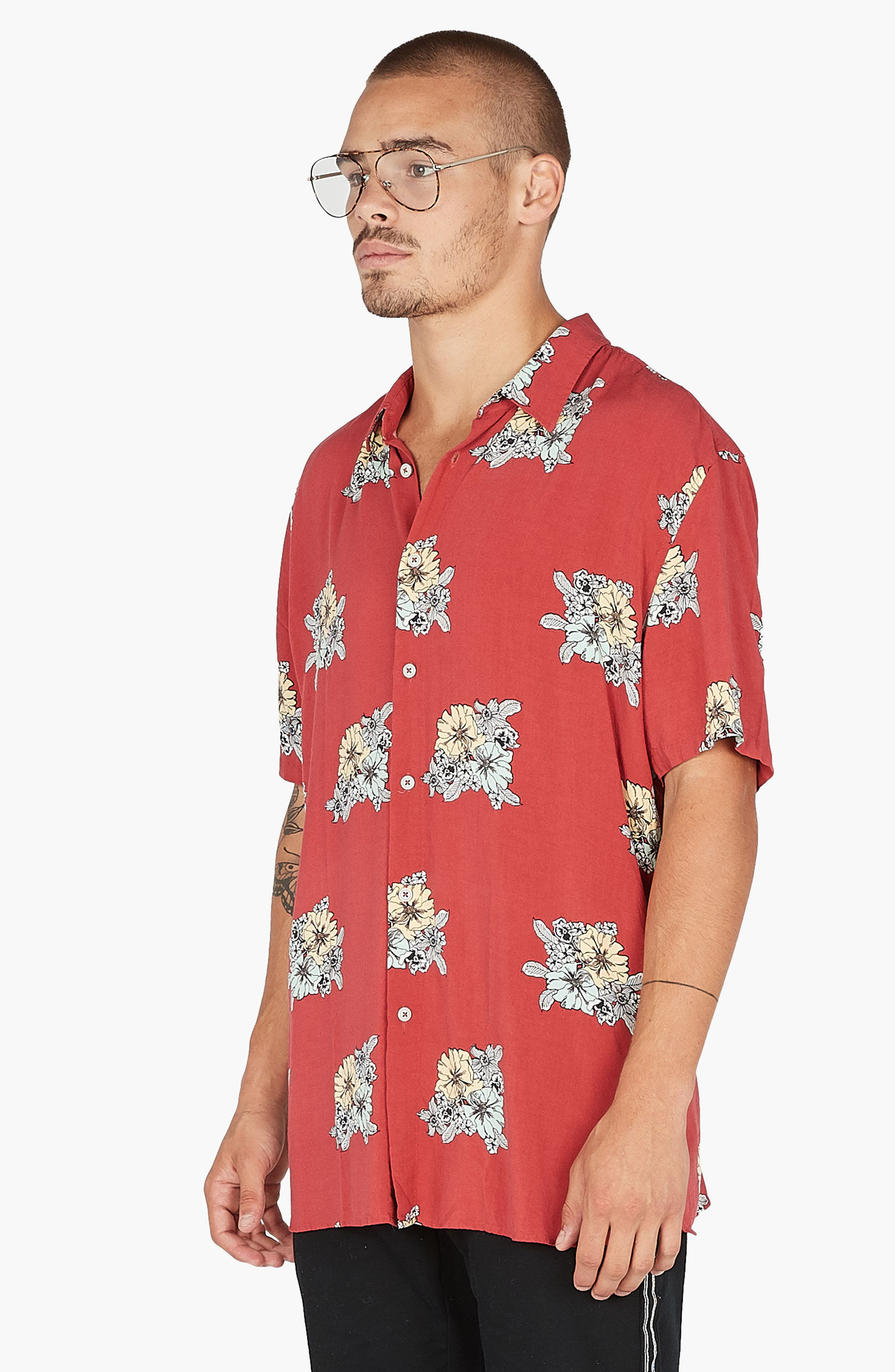 Holiday Woven Shirt,                             Alternate thumbnail 2, color,                             Red Floral