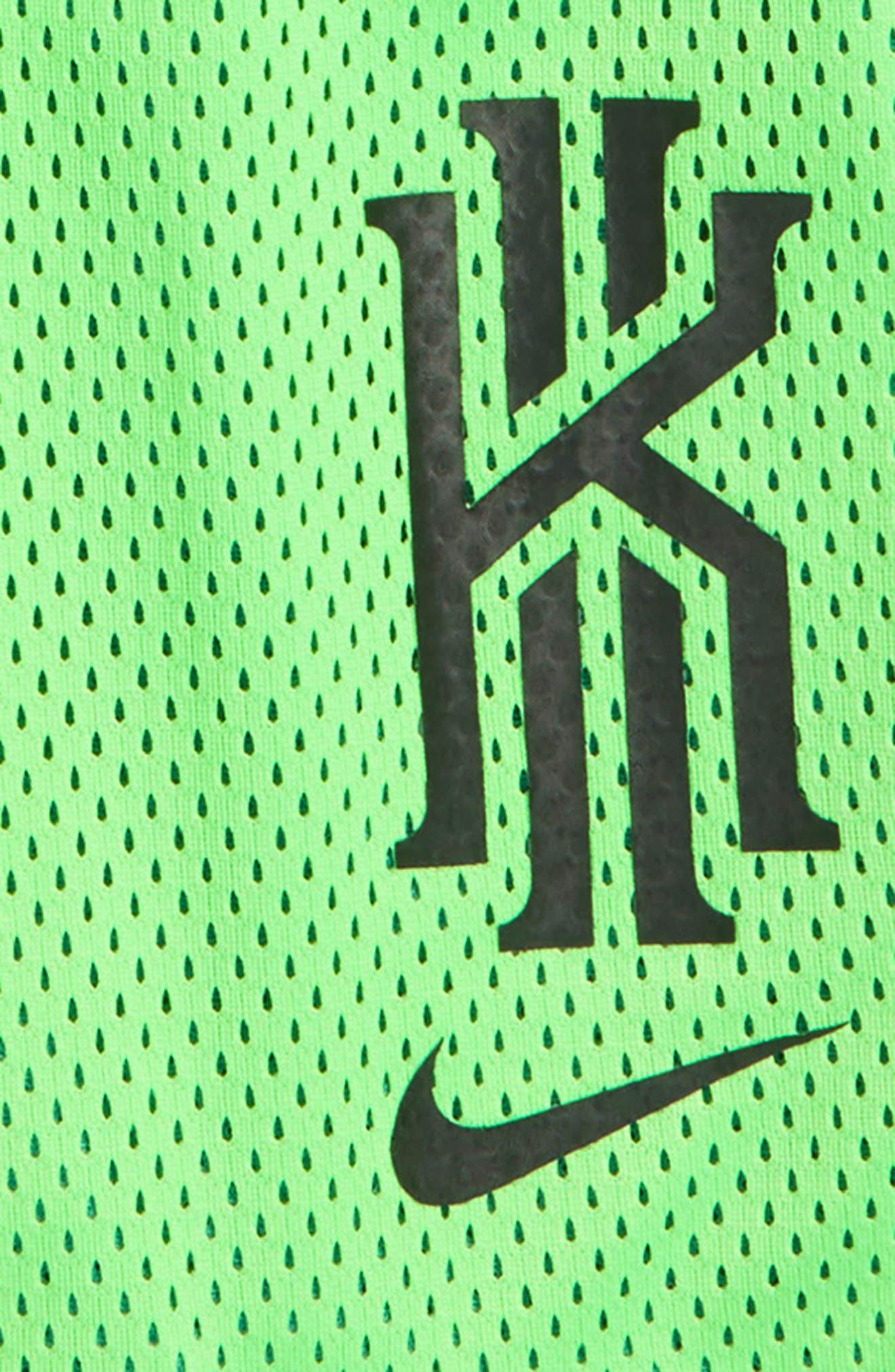 Dry Kyrie Mesh Shorts,                             Alternate thumbnail 2, color,                             Green Strike/ Black