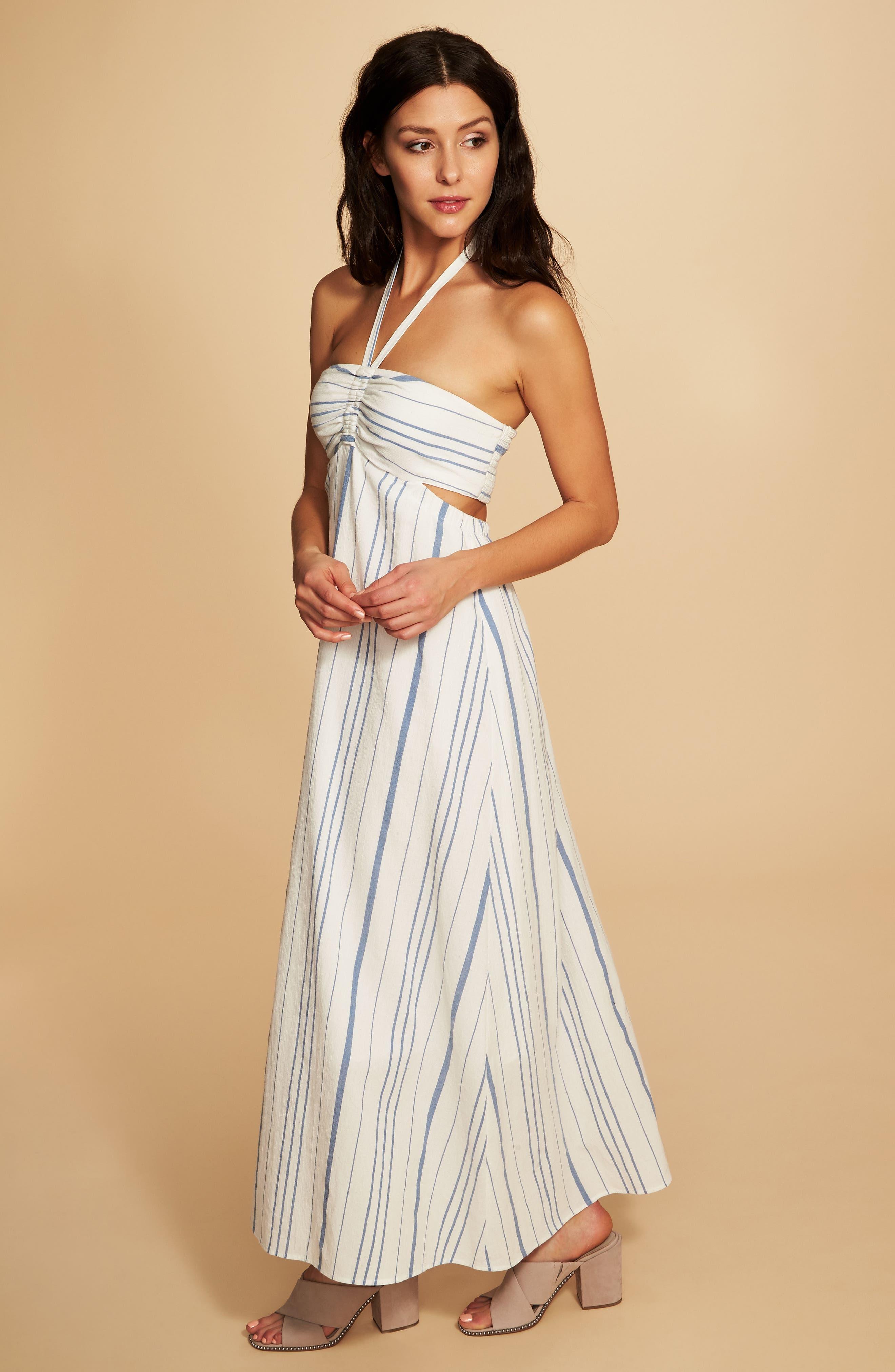 Cinched Bodice Maxi Dress,                             Alternate thumbnail 2, color,                             Antique White
