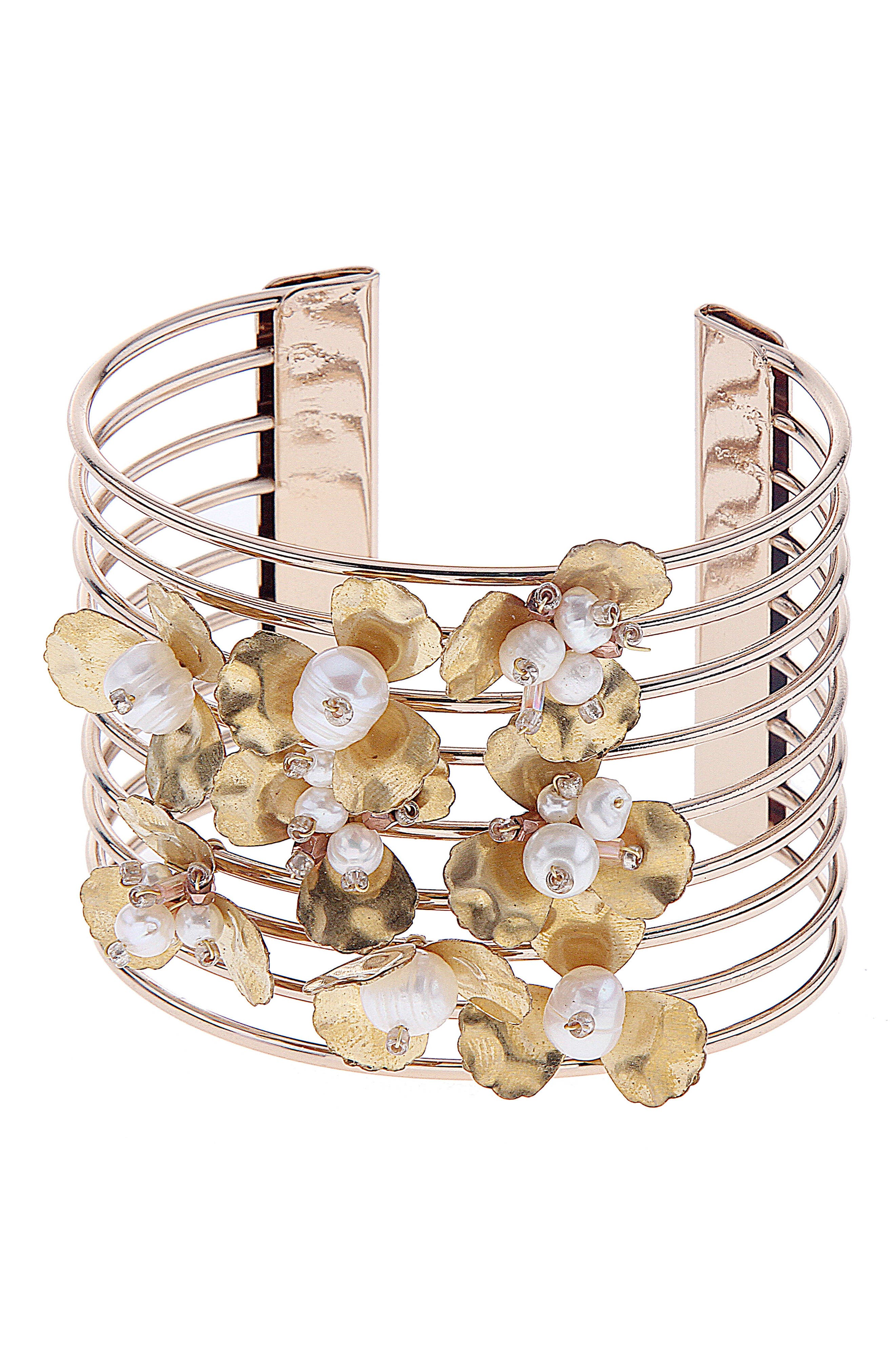 Wire Bead Cuff Bracelet,                         Main,                         color, Pearl