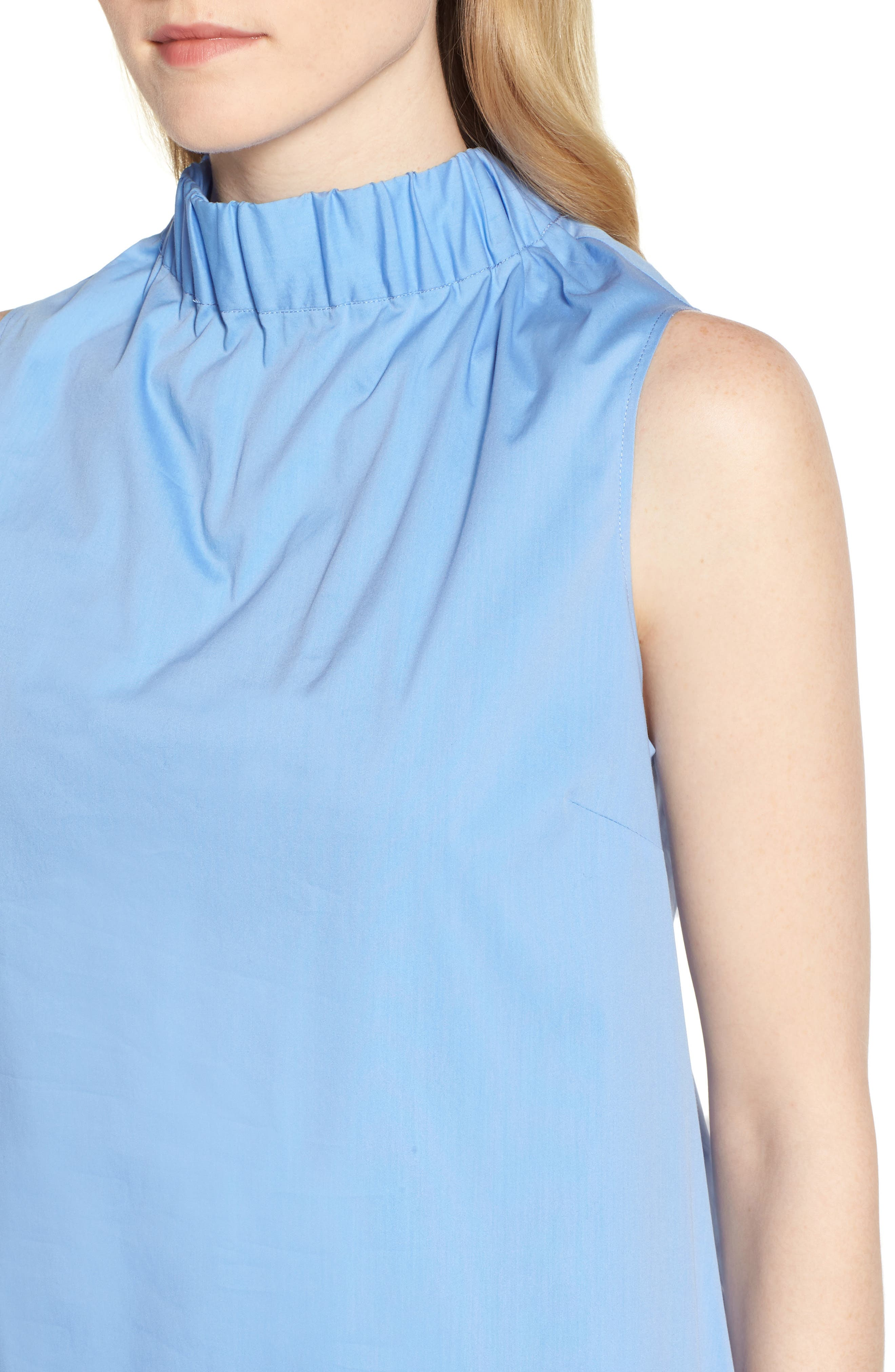 Stretch Cotton Poplin Shift Dress,                             Alternate thumbnail 4, color,                             Blue Cornflower