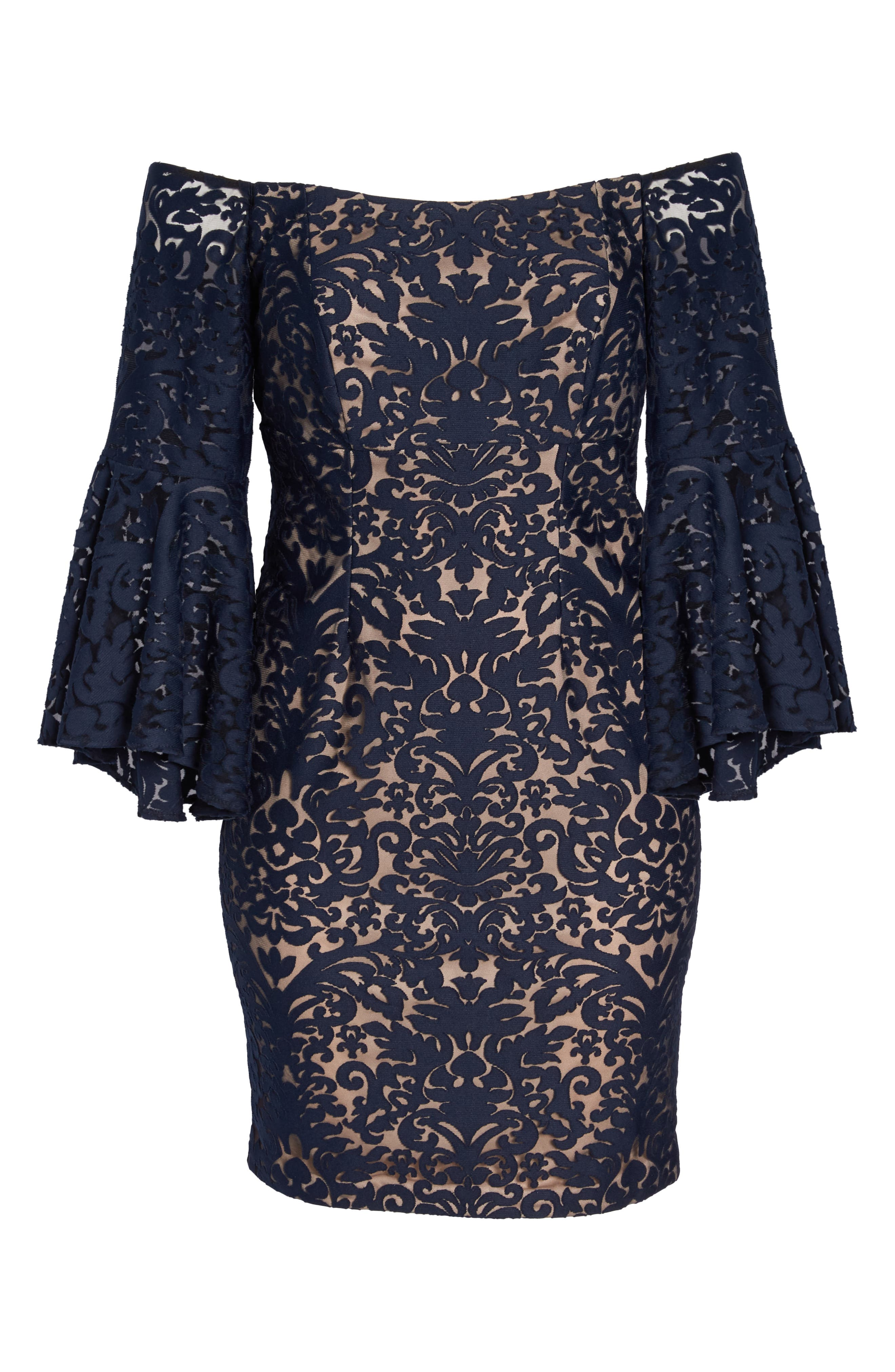 Bell Sleeve Off the Shoulder Burnout Lace Dress,                             Alternate thumbnail 6, color,                             Navy/ Nude