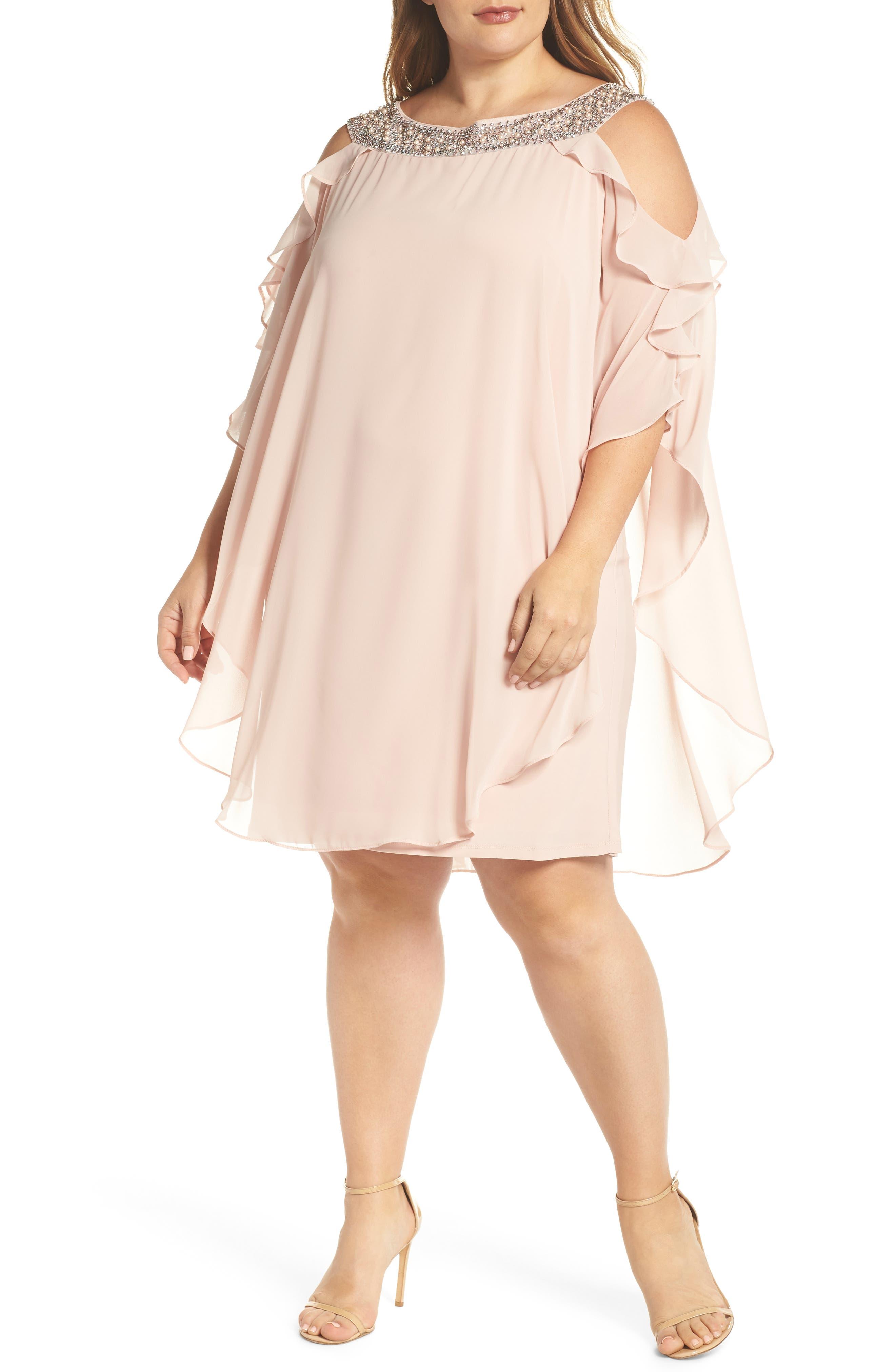 Xscape Embellished Neck Cold Shoulder Overlay Chiffon Shift Dress (Plus Size)