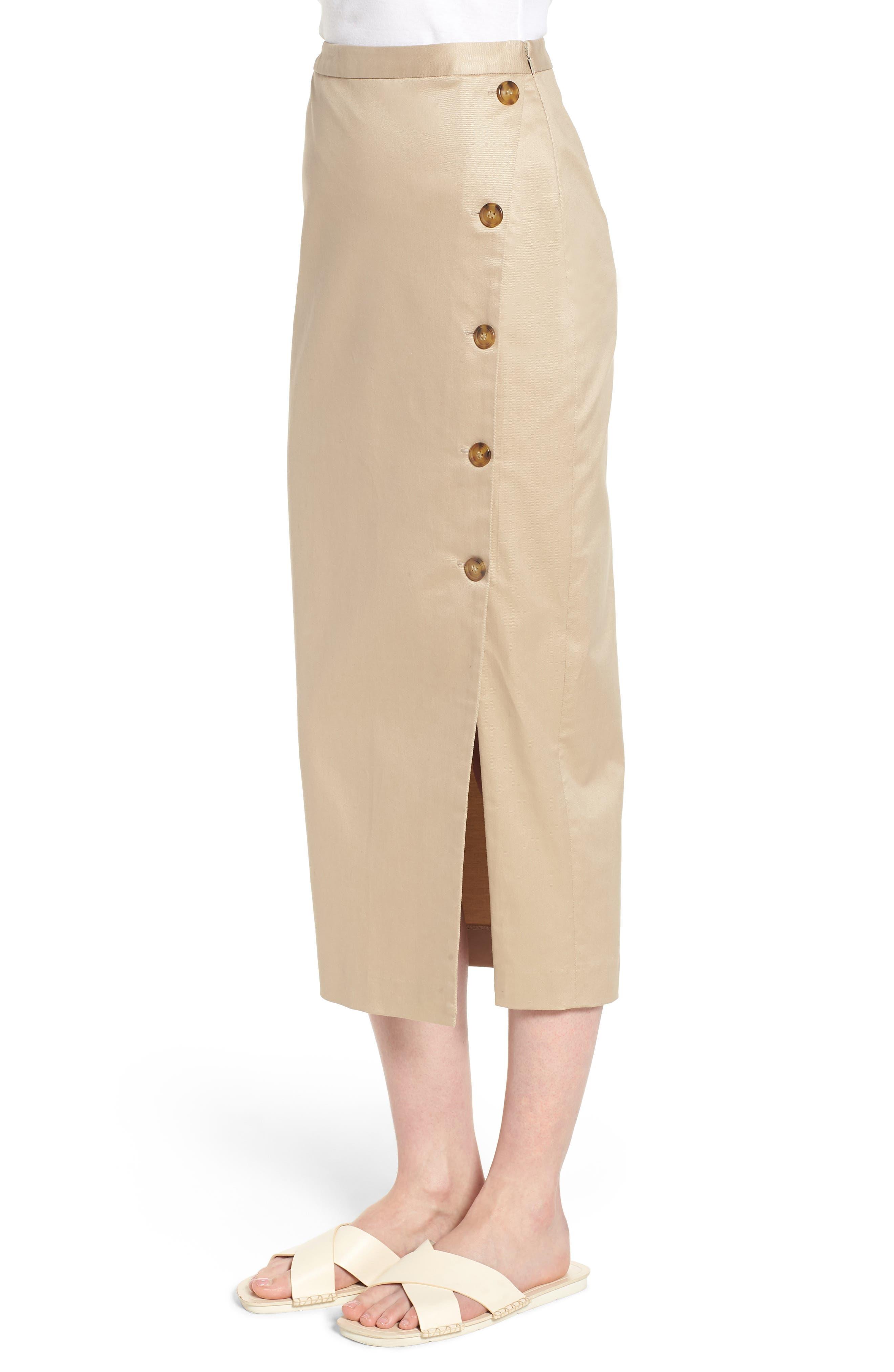 Side Slit Cotton Blend Pencil Skirt,                             Alternate thumbnail 3, color,                             Tan