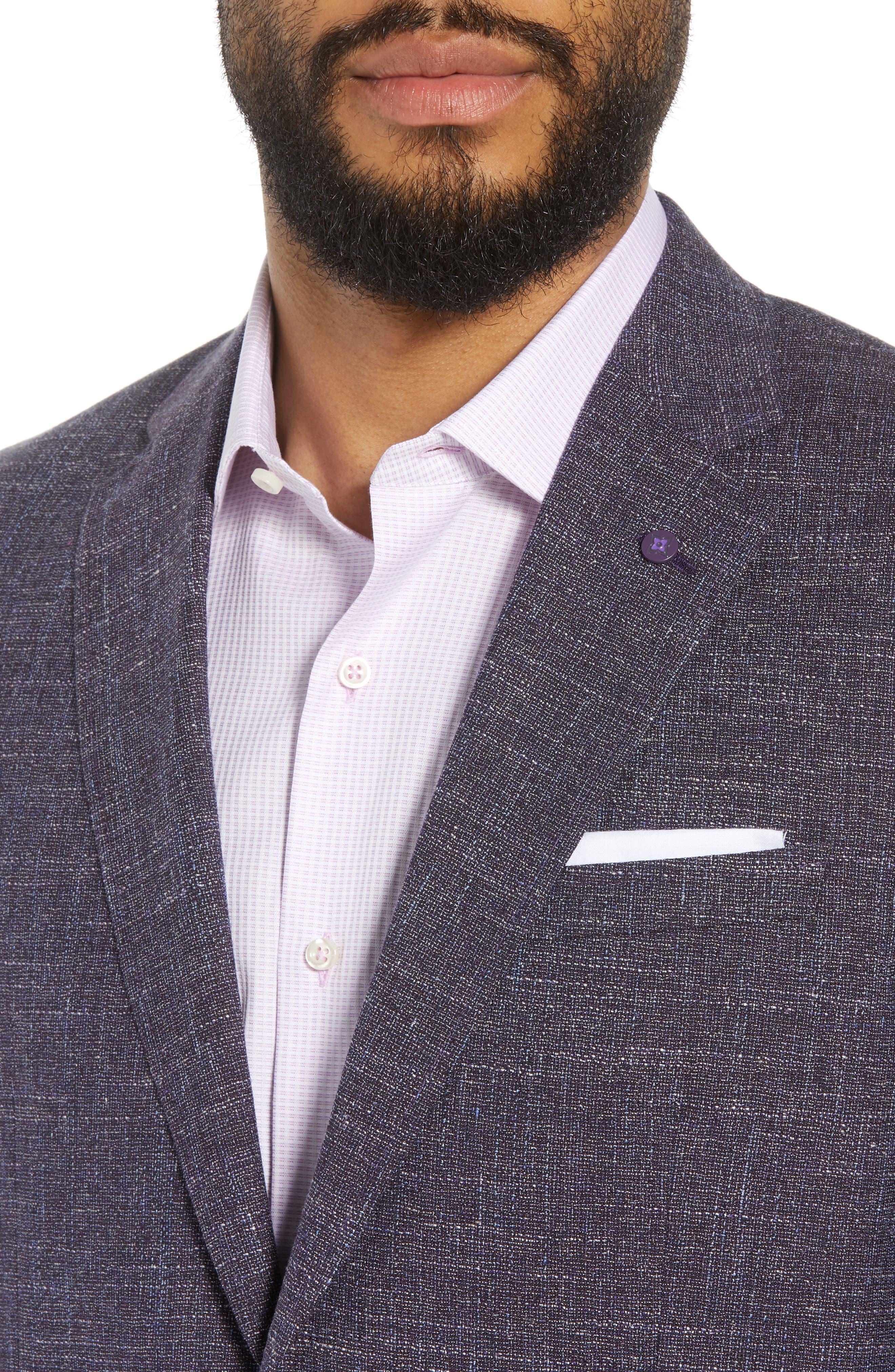 Jay Trim Fit Slubbed Wool, Cotton & Linen Sport Coat,                             Alternate thumbnail 4, color,                             Plum