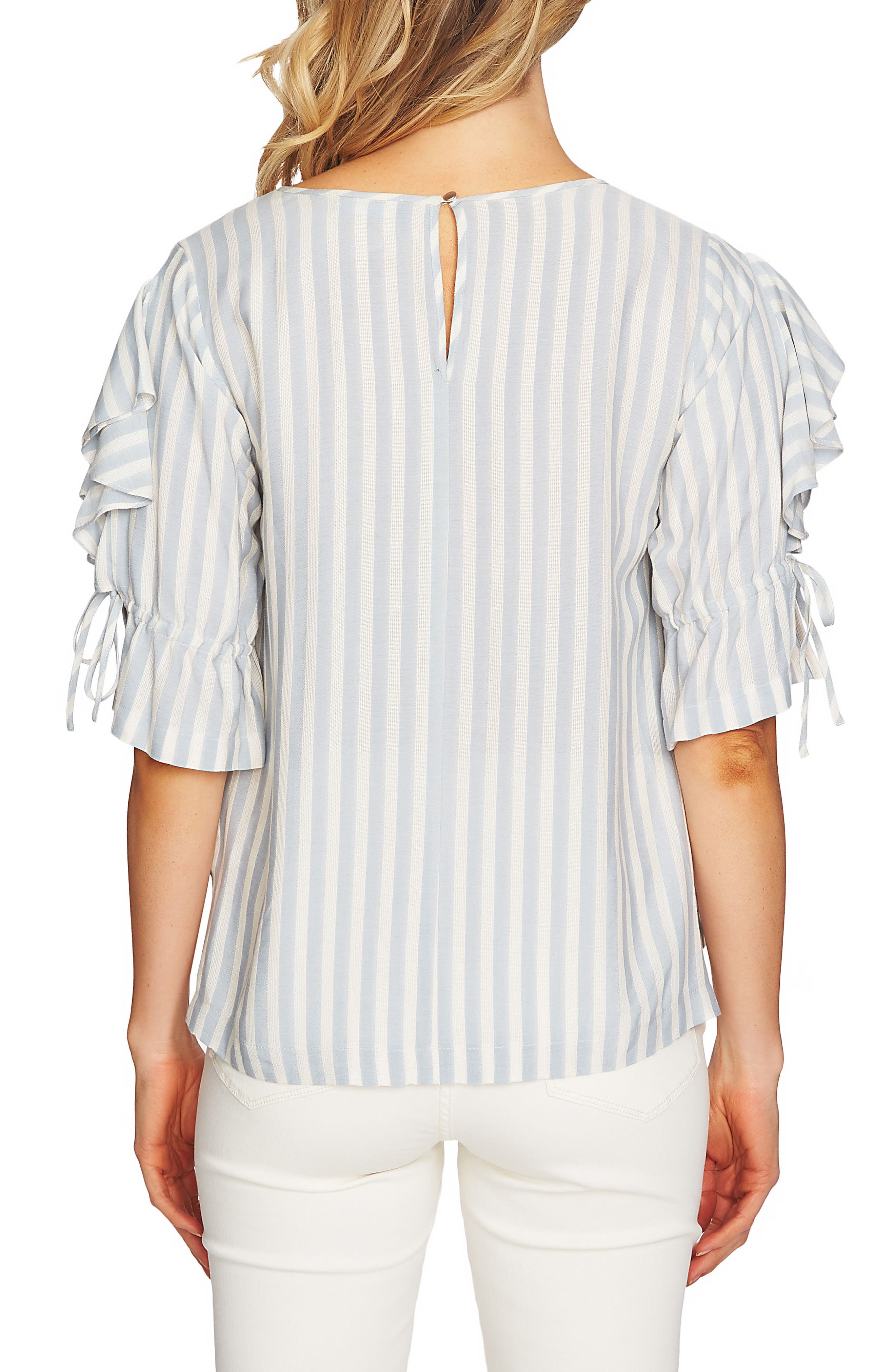 Ruffle Sleeve Stripe Top,                             Alternate thumbnail 2, color,                             Wind Surf