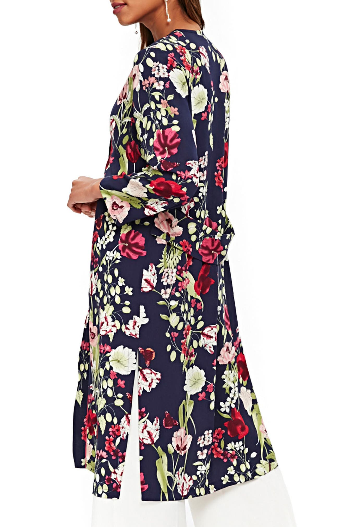 Floral Print Duster,                             Alternate thumbnail 2, color,                             Navy