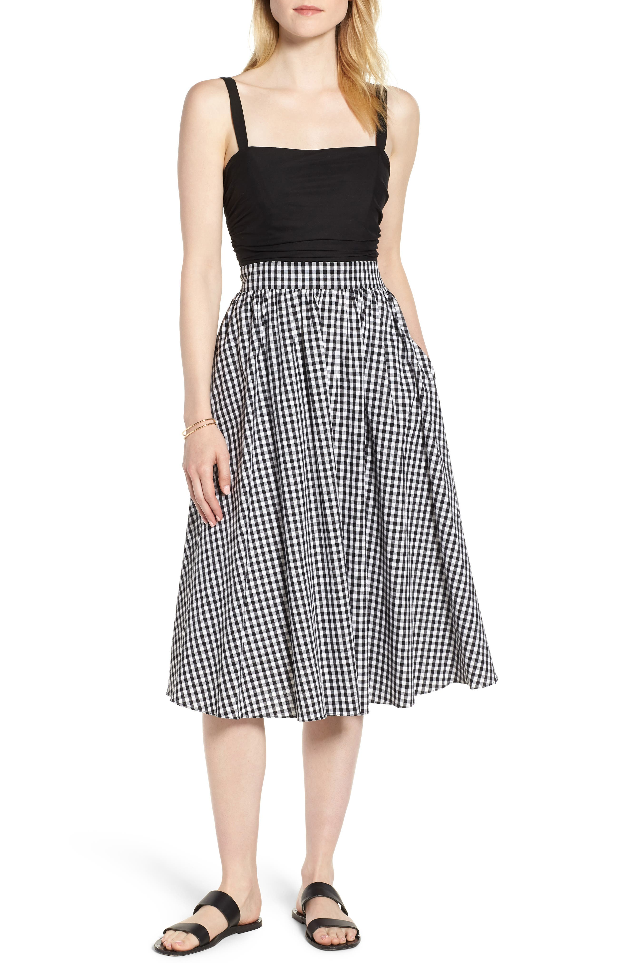 Bow Back Gingham Dress, Main, color, Black- White Gingham