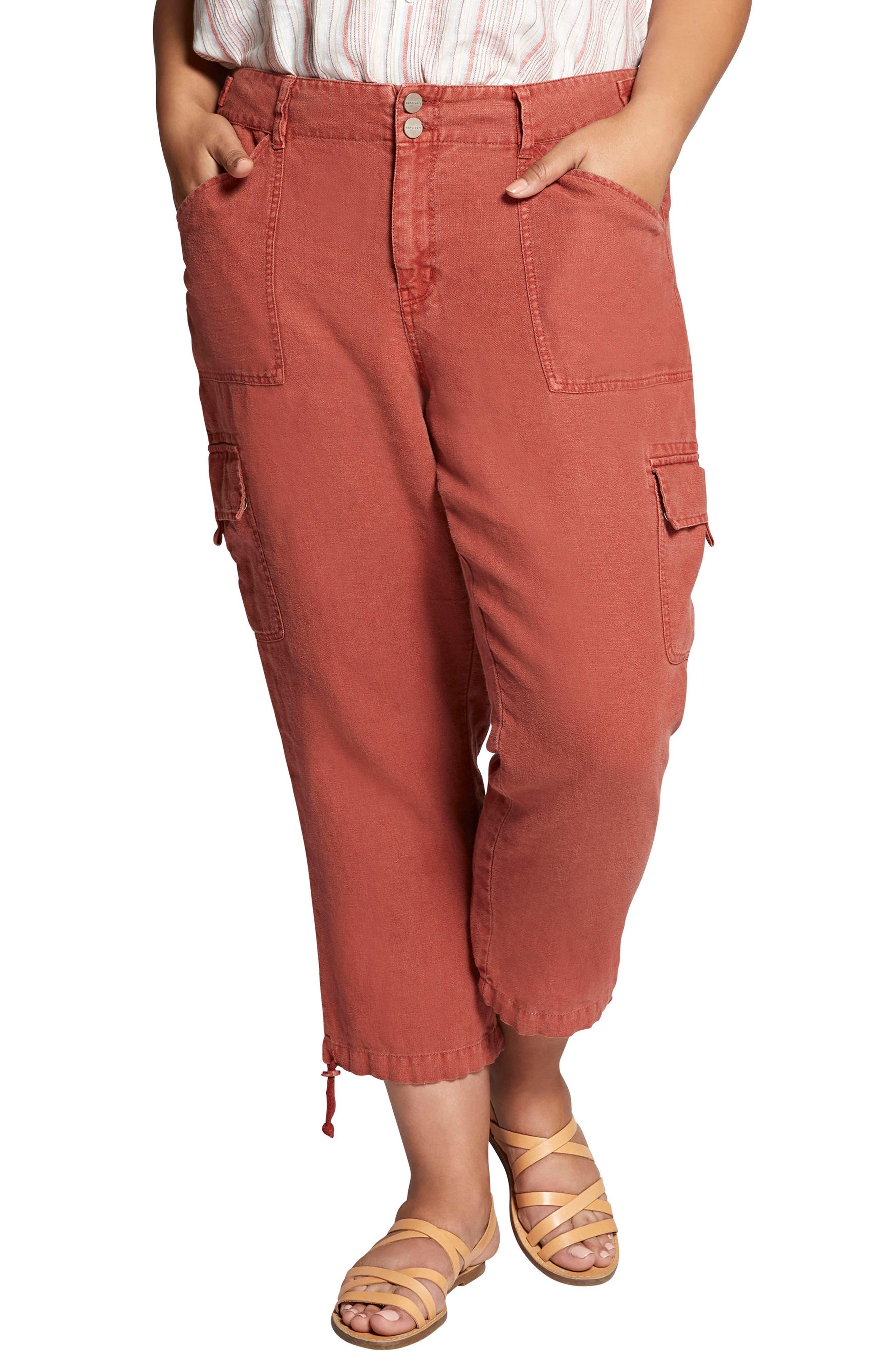 Terrain Crop Linen Cargo Pants,                         Main,                         color, Terra Cotta