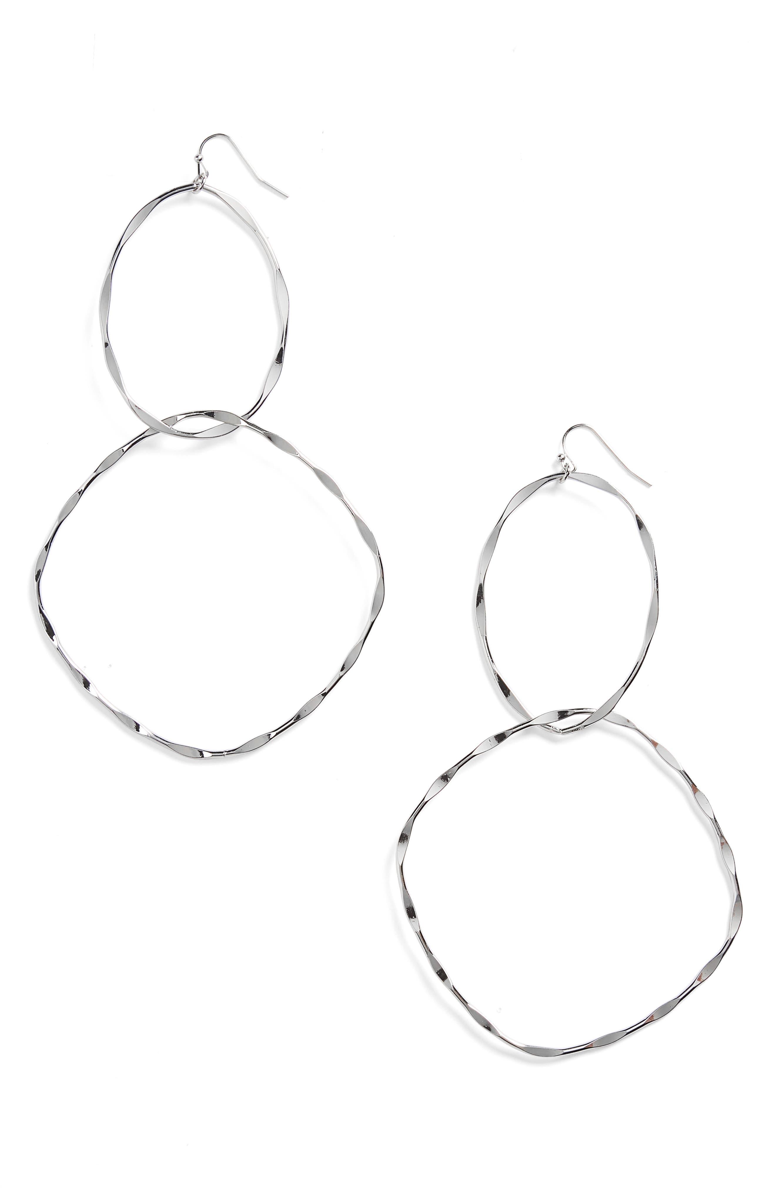 Beat Metal Link Hoops,                         Main,                         color, Silver
