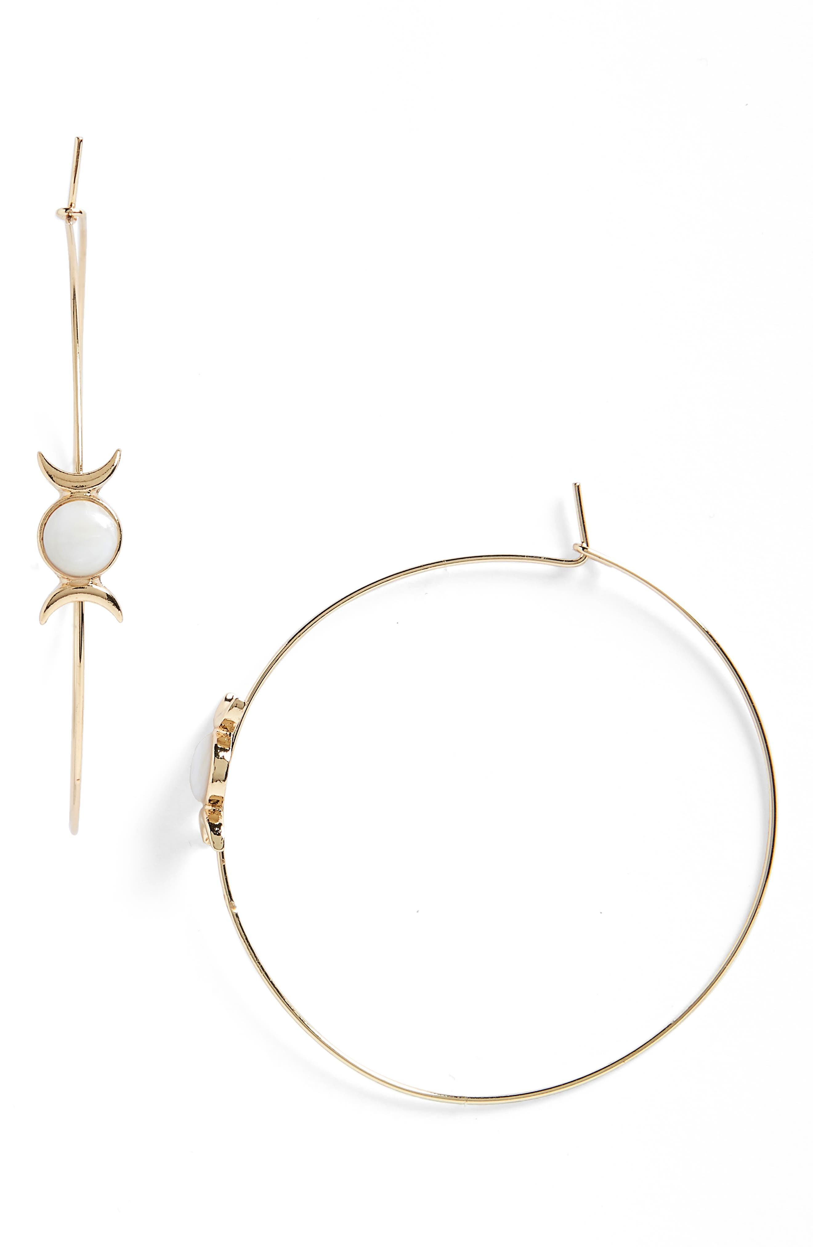 Shell Hoop Earrings,                         Main,                         color, White