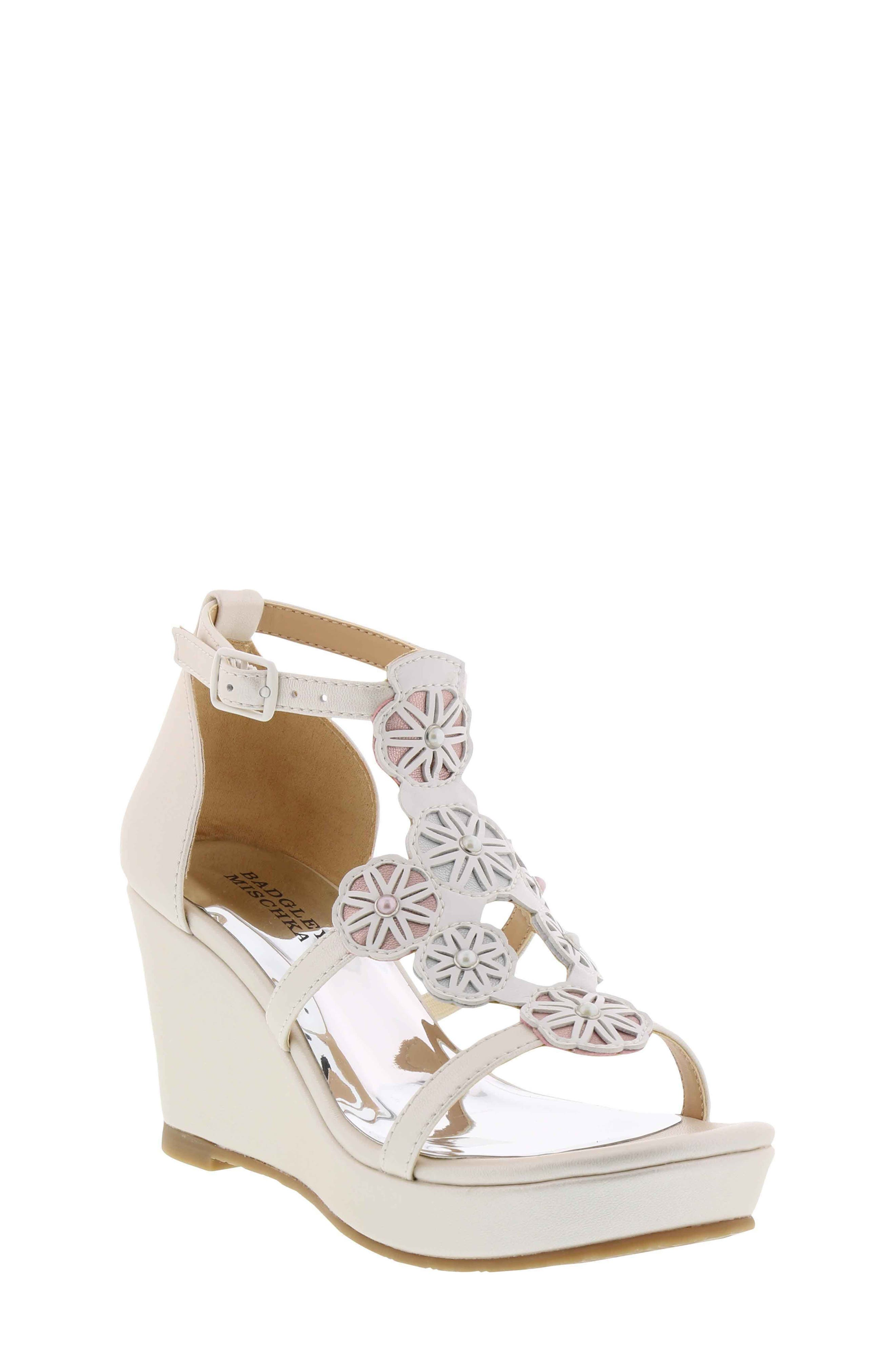Badgley Mischka Sophia Flora Wedge Sandal (Toddler, Little Kid & Big Kid)