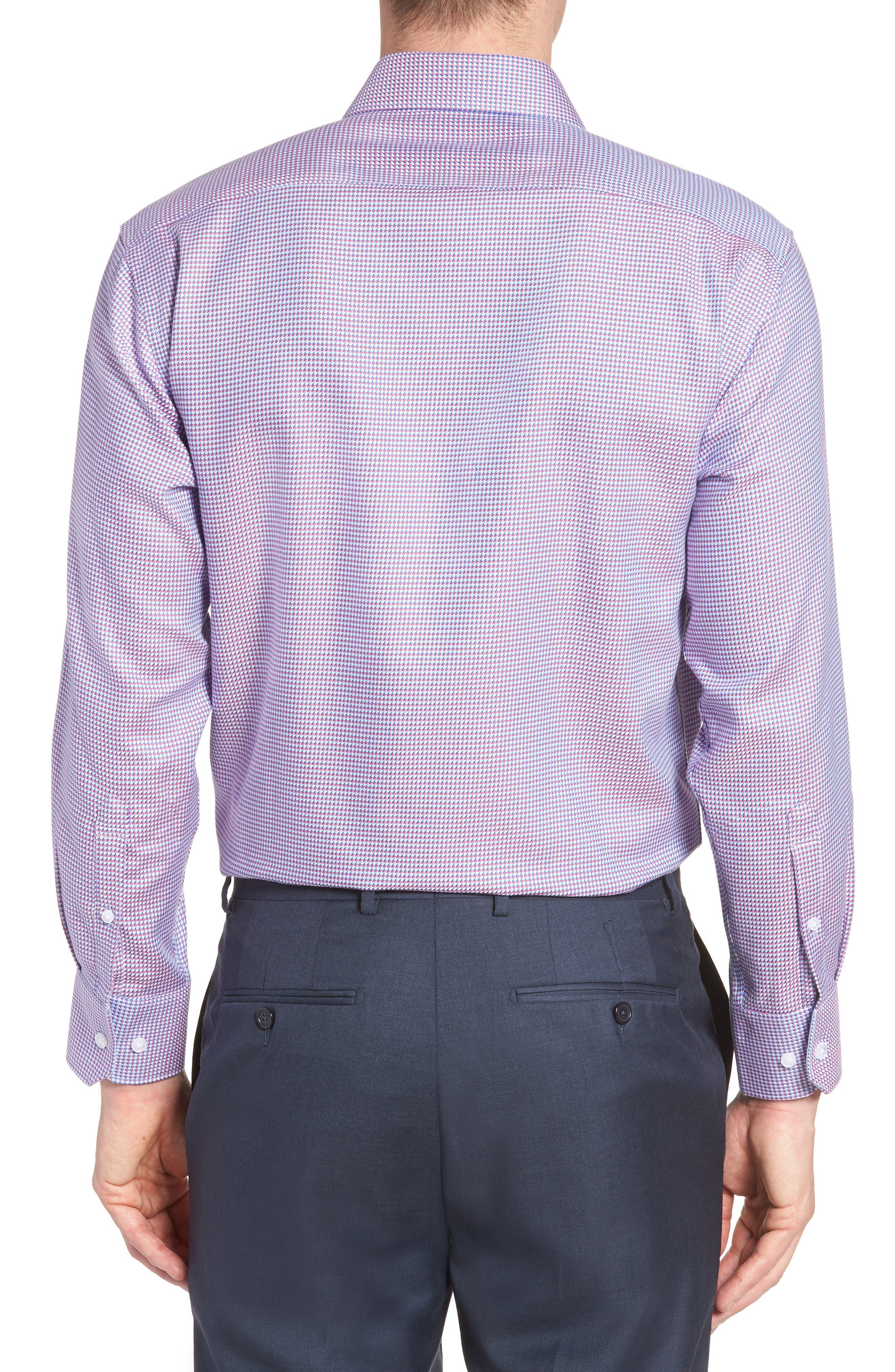 Axton Trim Fit Geometric Dress Shirt,                             Alternate thumbnail 3, color,                             Red/ Blue