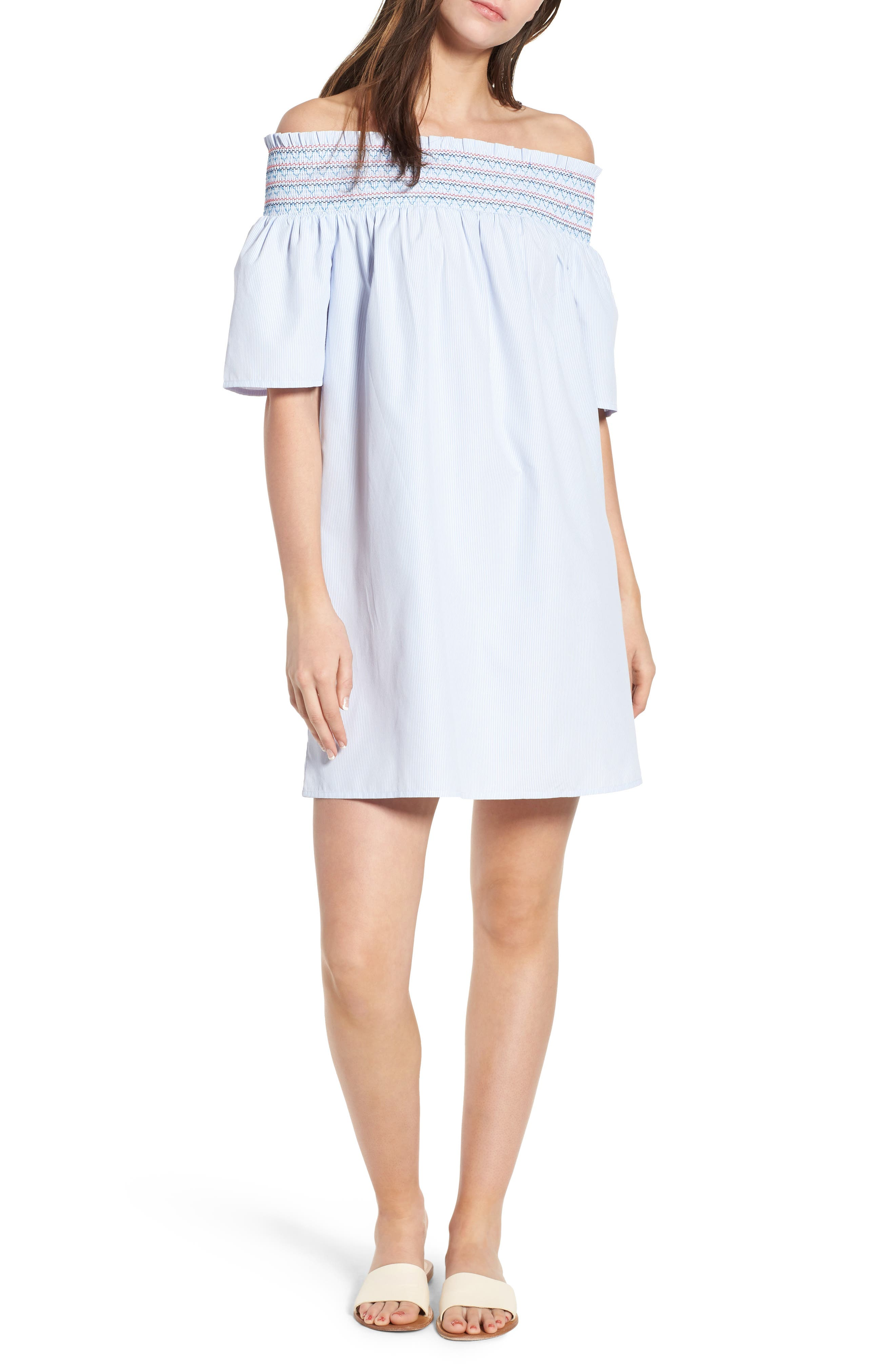 Smocked Off the Shoulder Dress,                             Main thumbnail 1, color,                             Bright White / Serenity