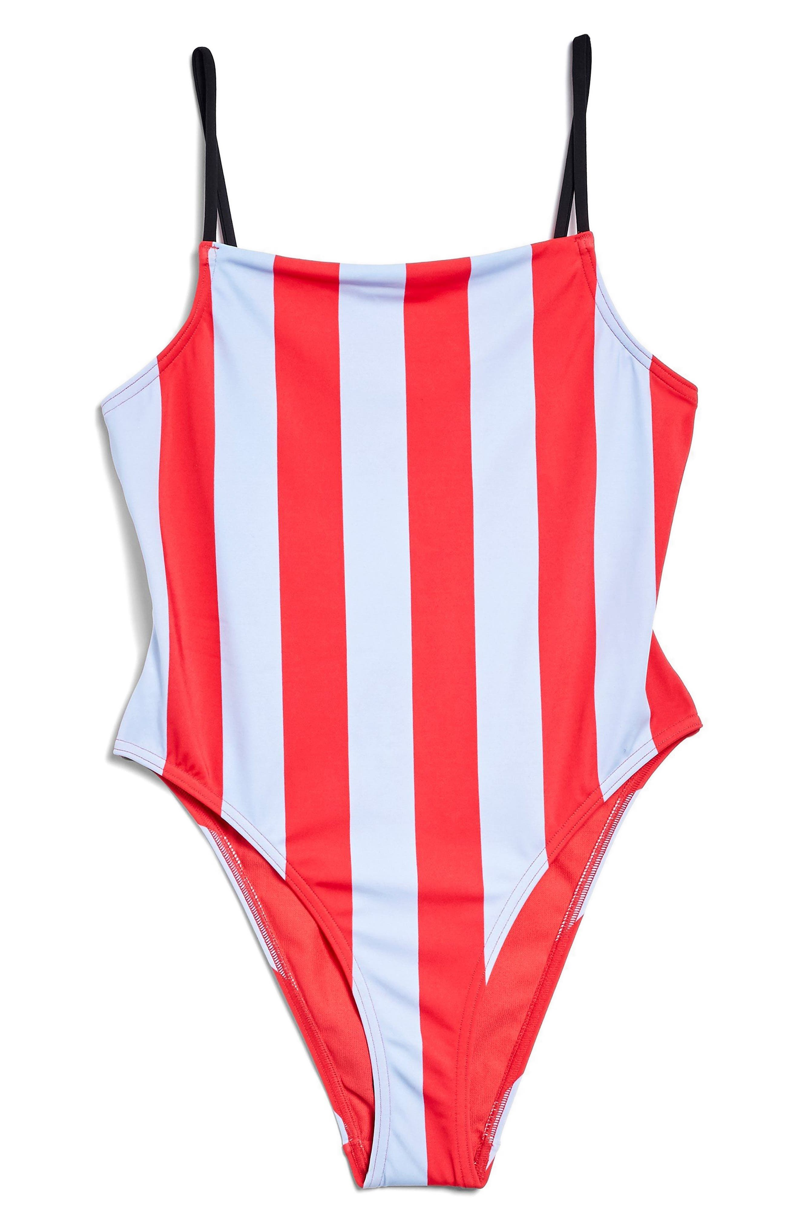 Stripe One-Piece Swimsuit,                             Alternate thumbnail 4, color,                             Red Multi