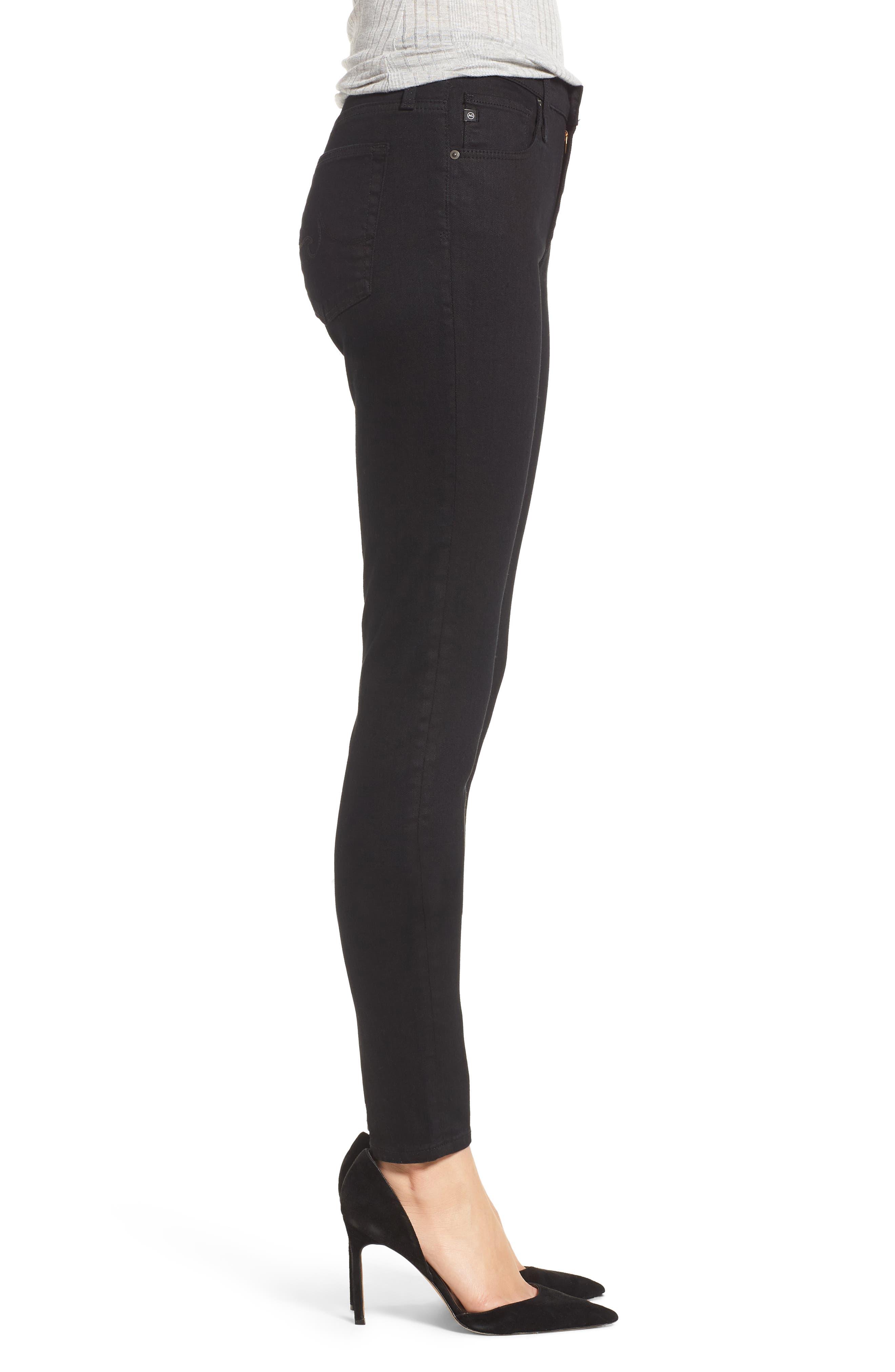 'The Farrah' High Rise Skinny Jeans,                             Alternate thumbnail 3, color,                             Overdyed Black
