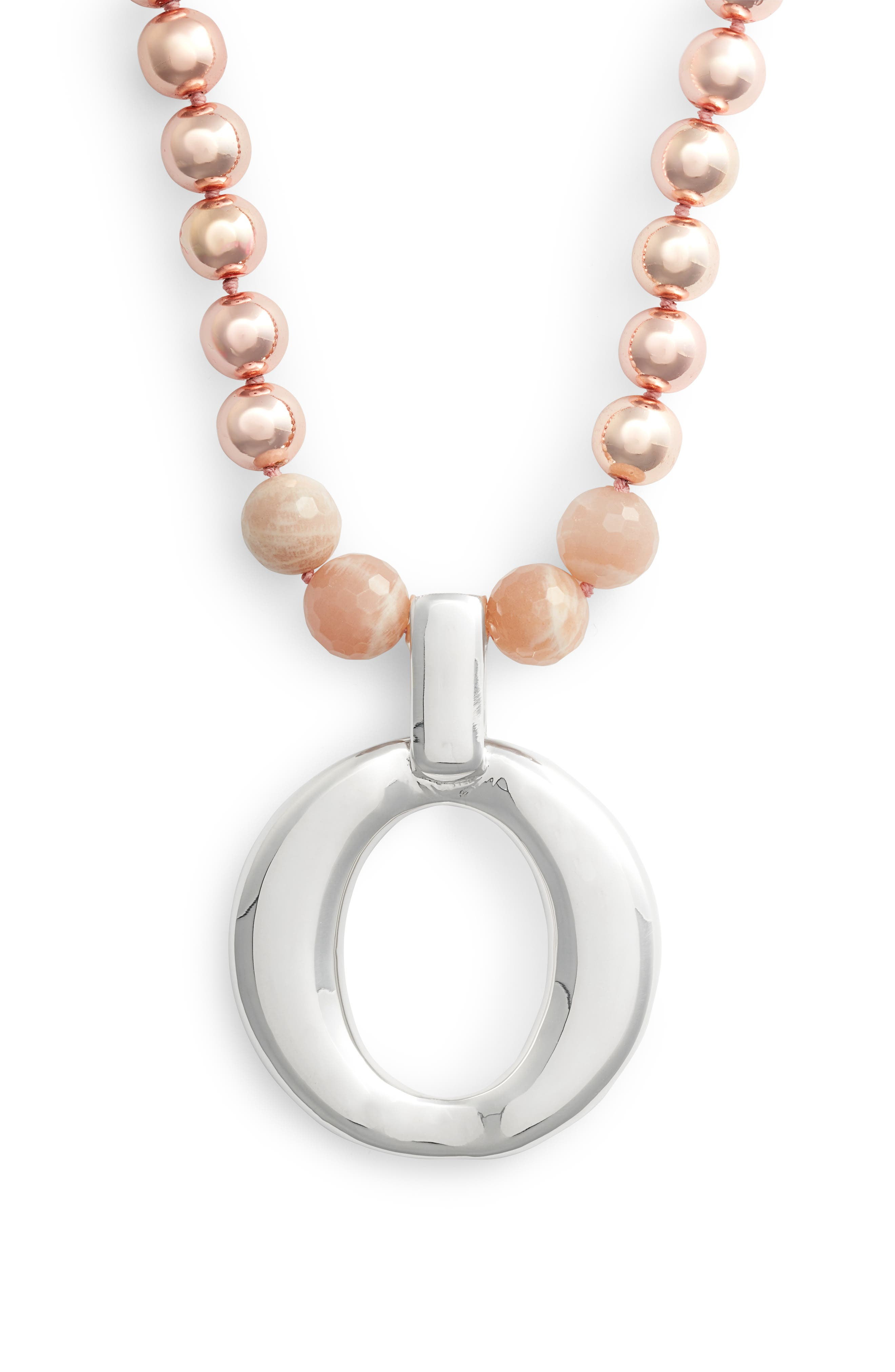 Hematite & Moonstone Necklace,                             Main thumbnail 1, color,                             Pink/ Silver