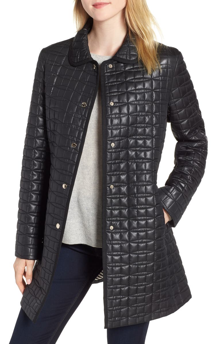 bow quilted coat
