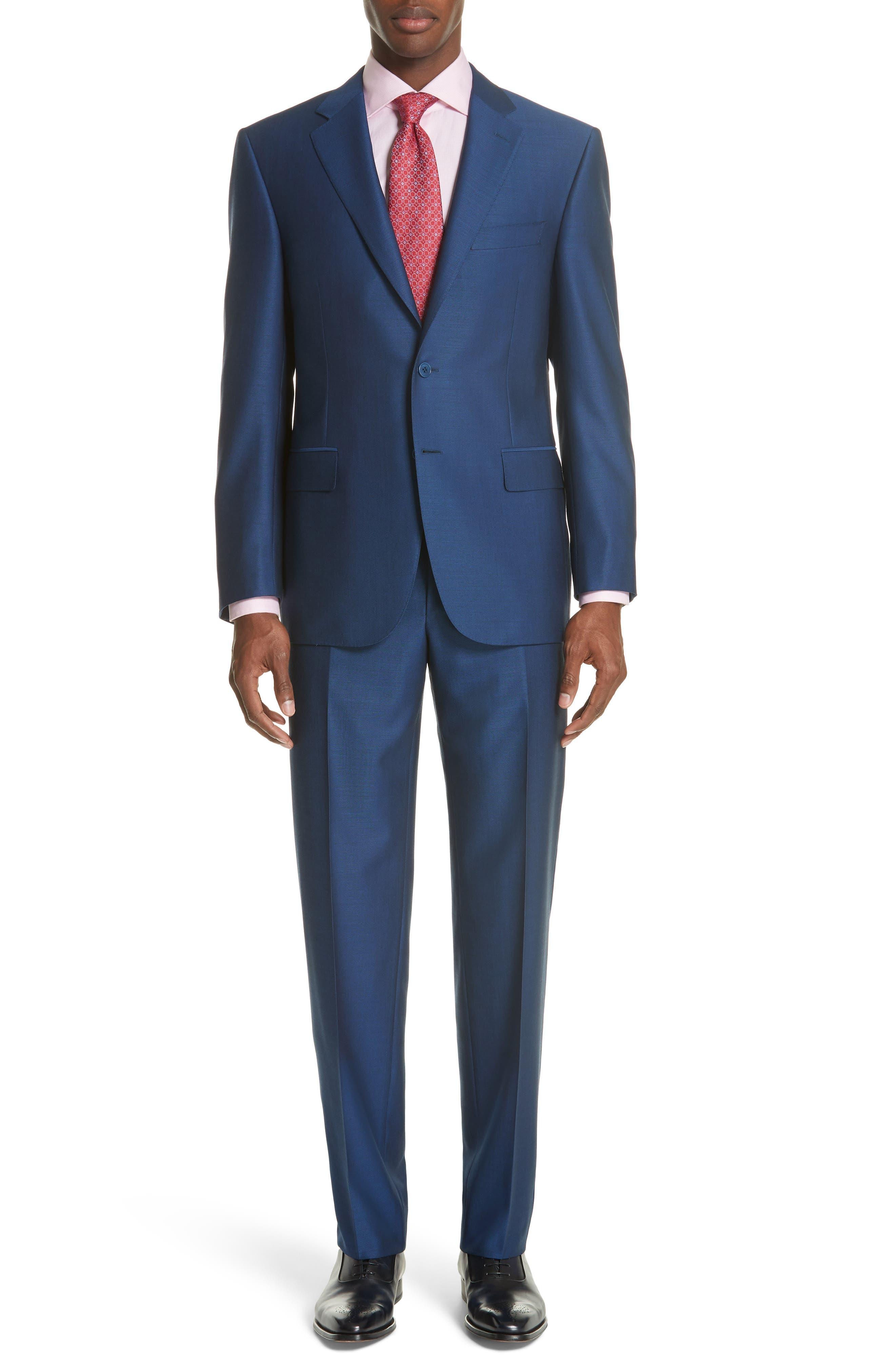 Classic Fit Solid Wool Suit,                         Main,                         color, Blue