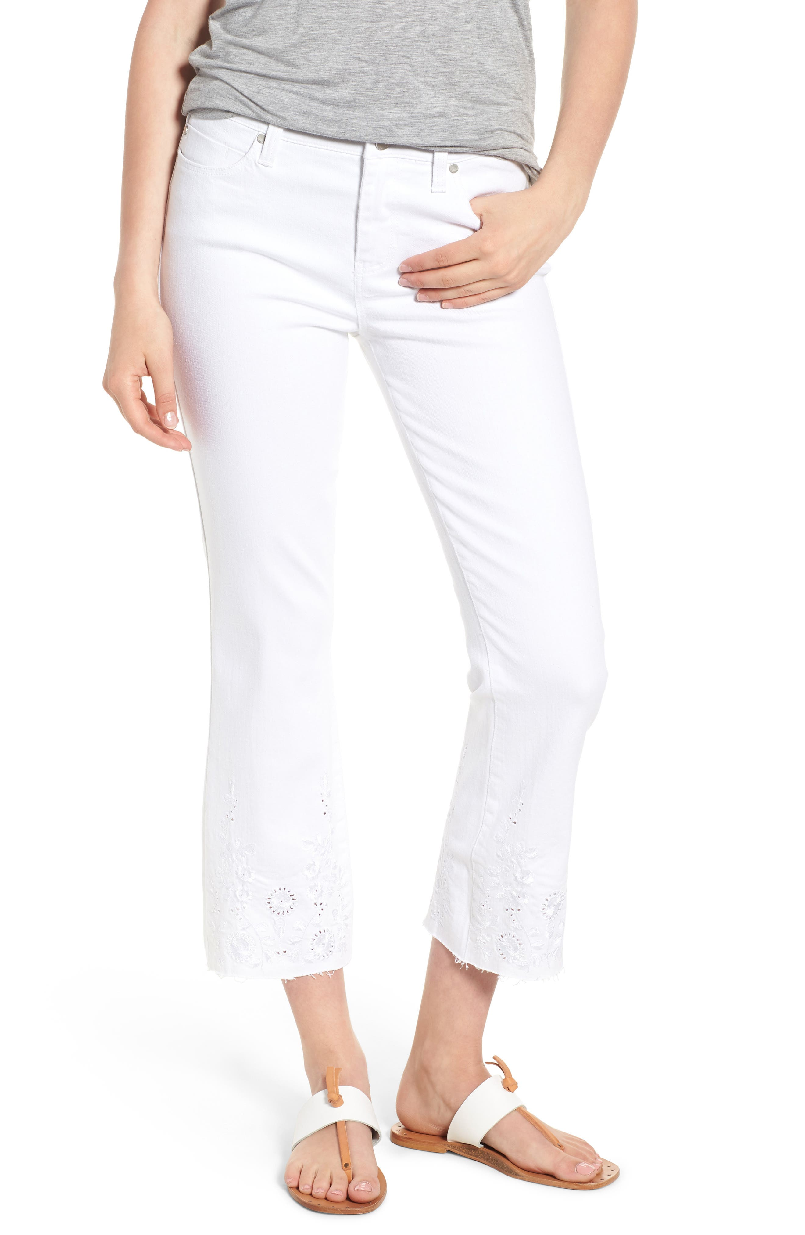 Hannah Embroidered Raw Hem Jeans,                             Main thumbnail 1, color,                             Bright White