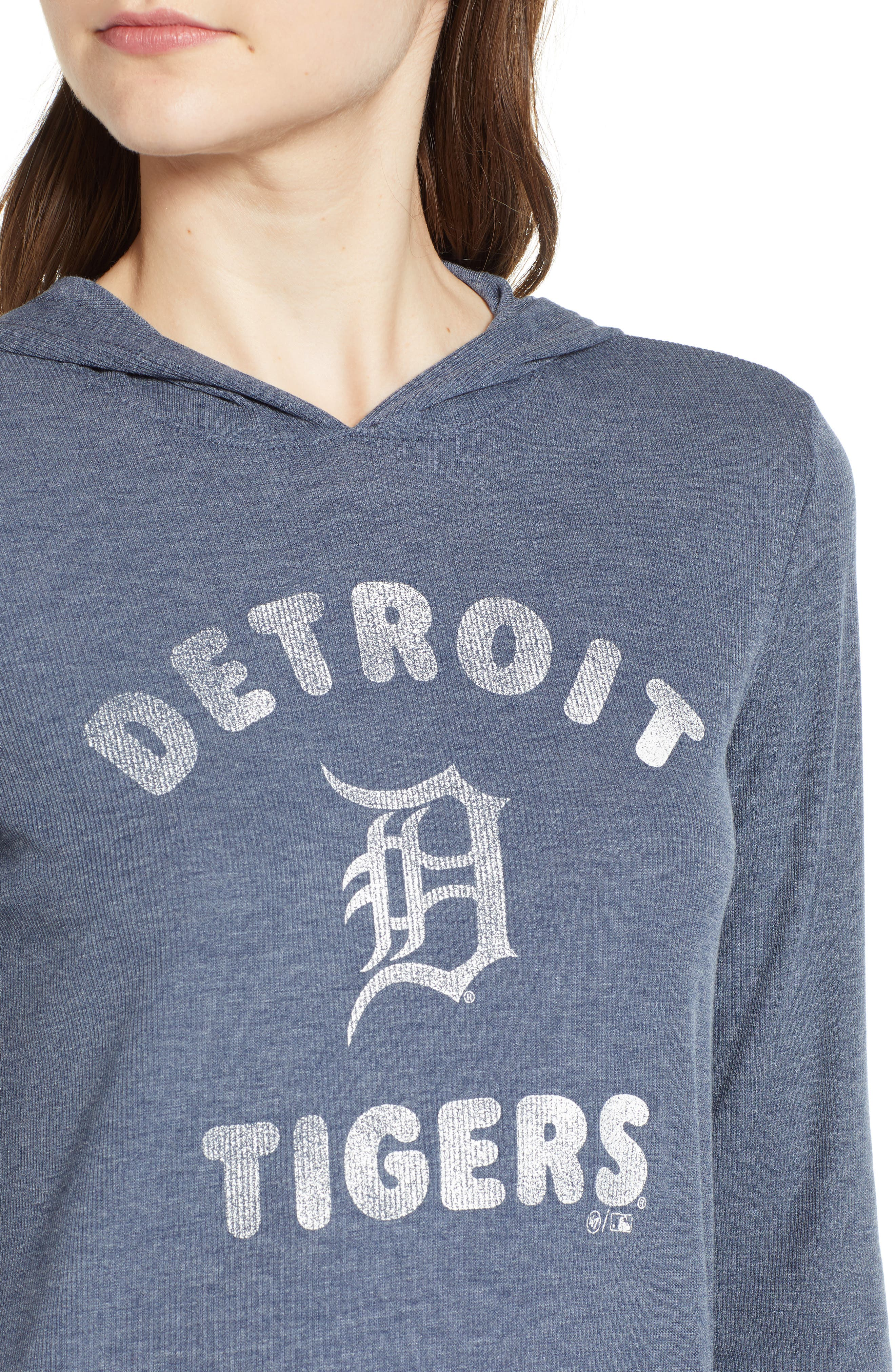 Campbell Detroit Tigers Rib Knit Hooded Top,                             Alternate thumbnail 4, color,                             Midnight