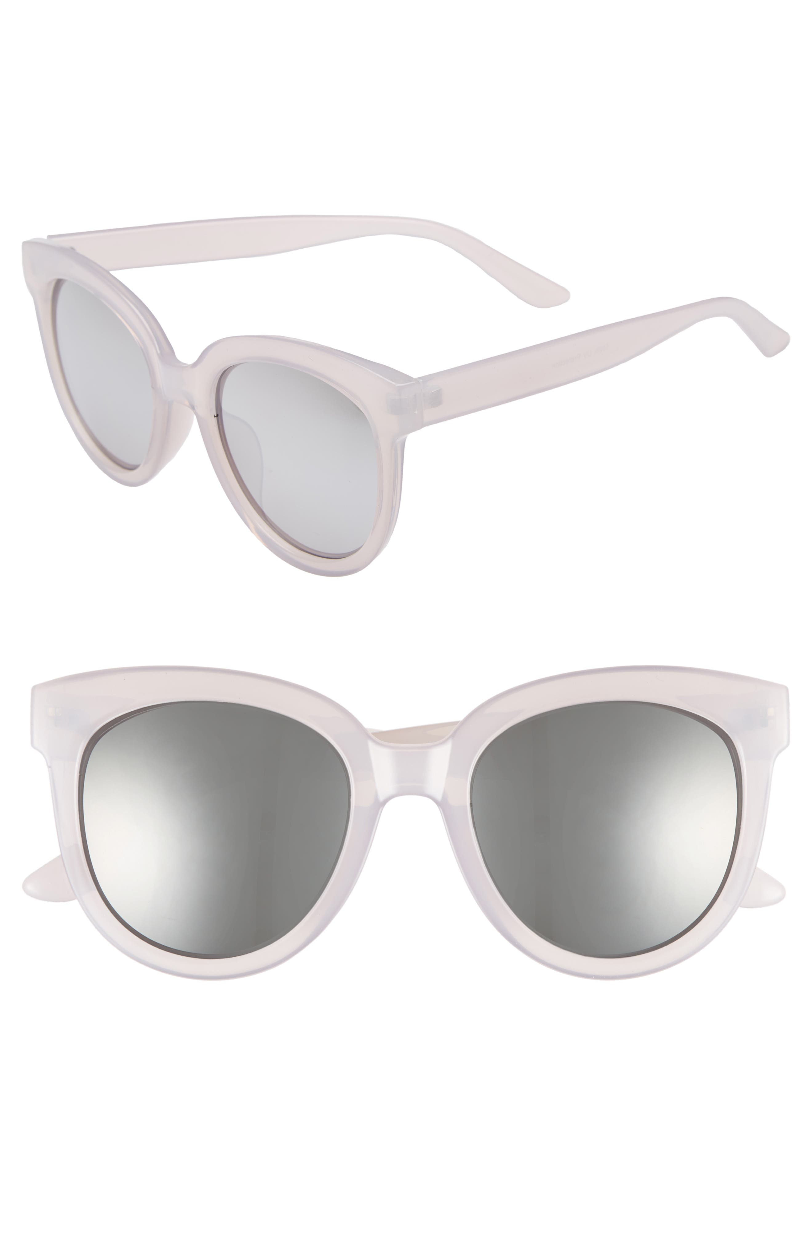53mm Frosted Cat Eye Sunglasses,                             Main thumbnail 1, color,                             Milky Gray/ Silver