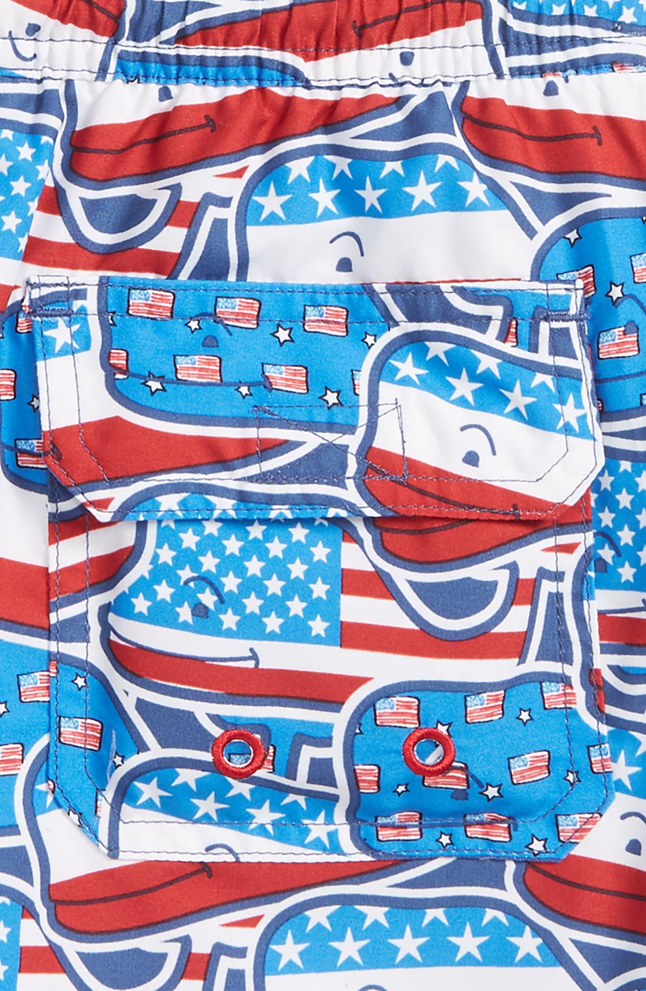 Chappy Whaley USA Swim Trunks,                             Alternate thumbnail 2, color,                             Moonshine