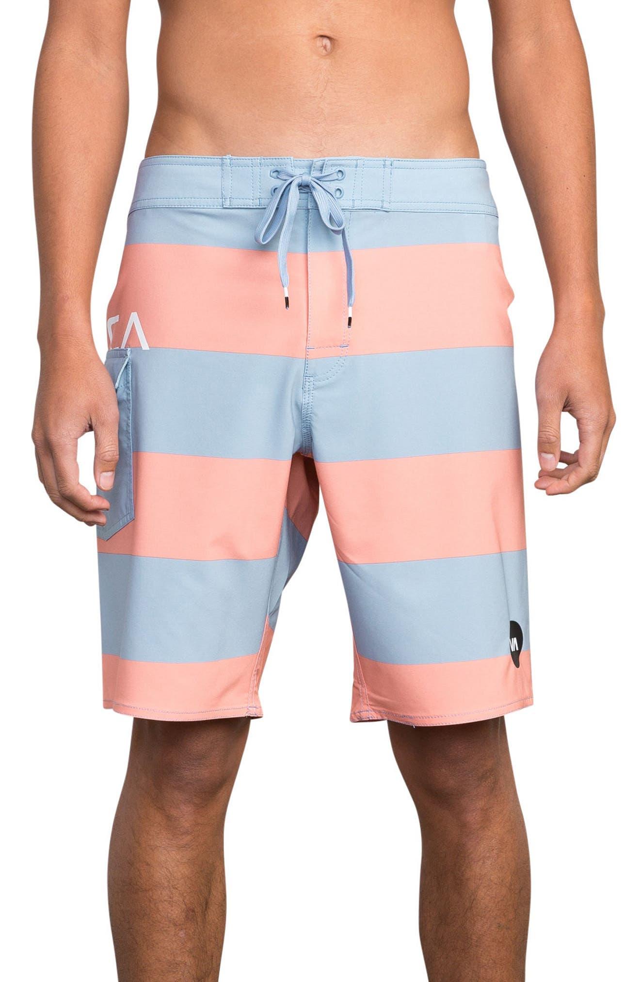 Uncivil Stripe Board Shorts,                         Main,                         color, Terracotta