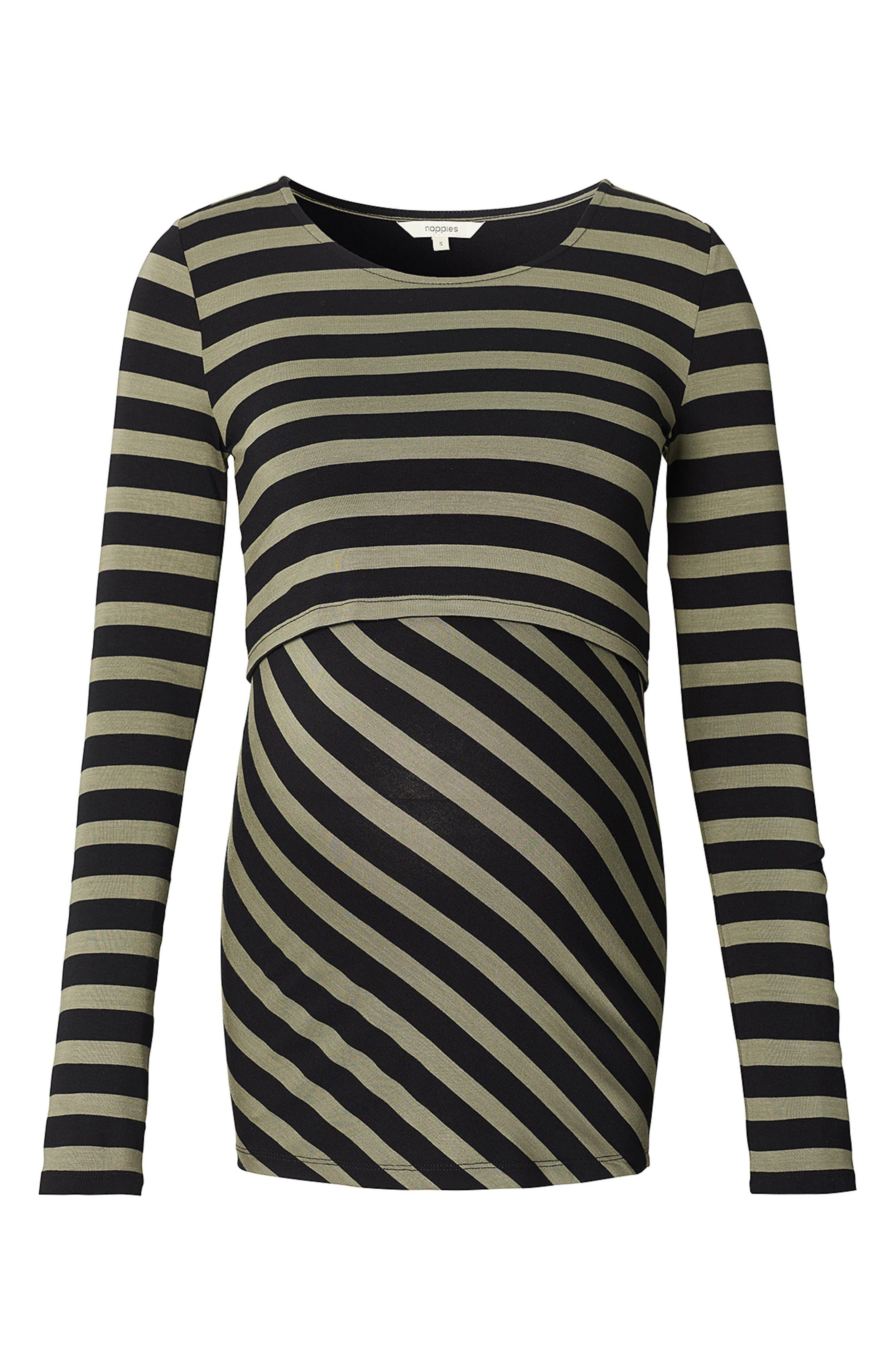Harper Long Sleeve Maternity/Nursing Tee,                         Main,                         color, Army Stripe