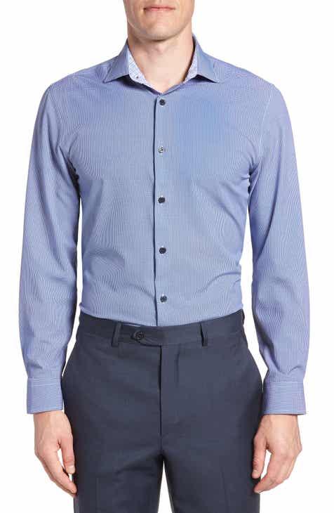 W.R.K Trim Fit Houndstooth 4-Way Stretch Dress Shirt