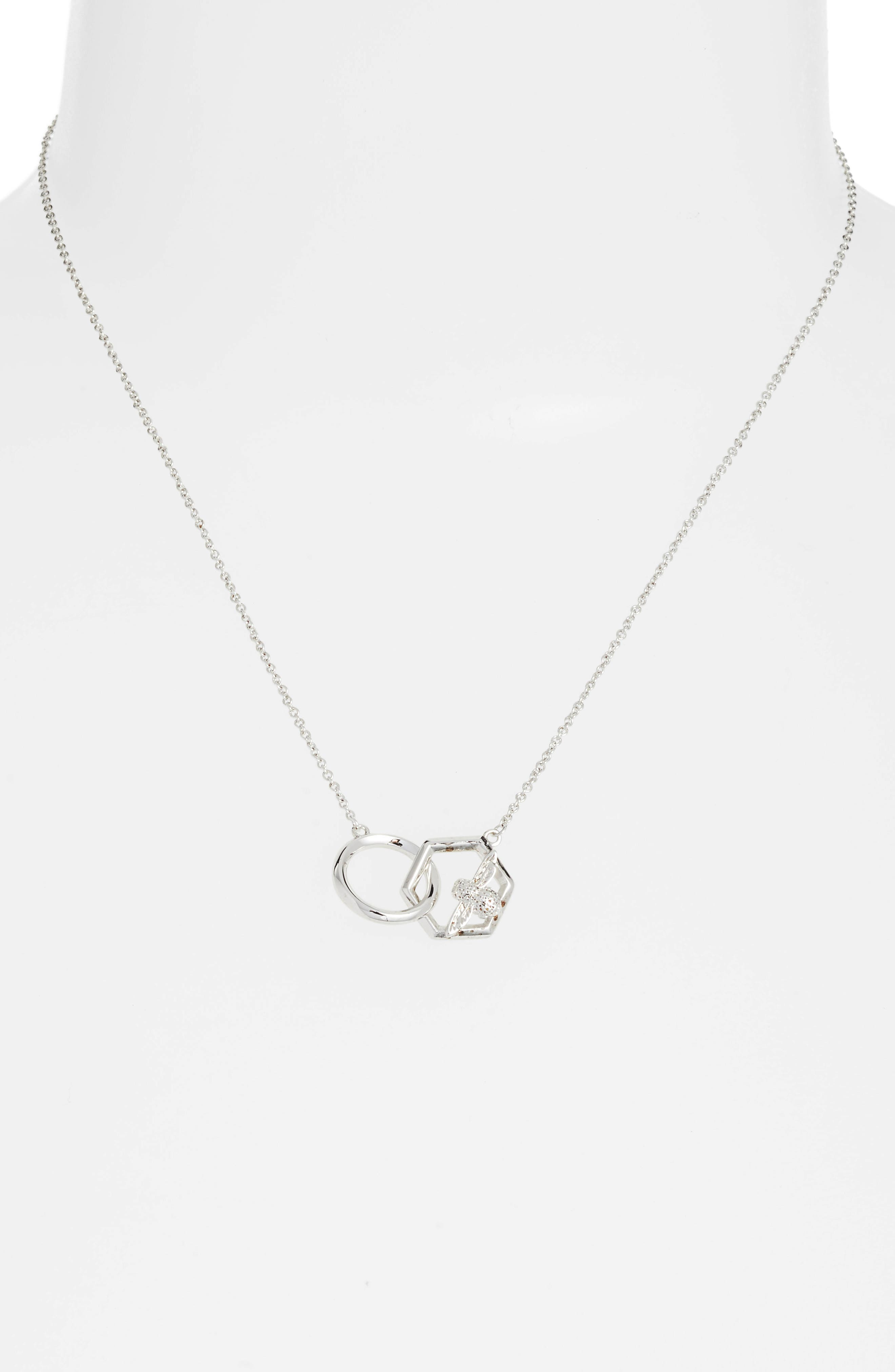 Honeycomb Bee Necklace,                             Alternate thumbnail 2, color,                             Silver