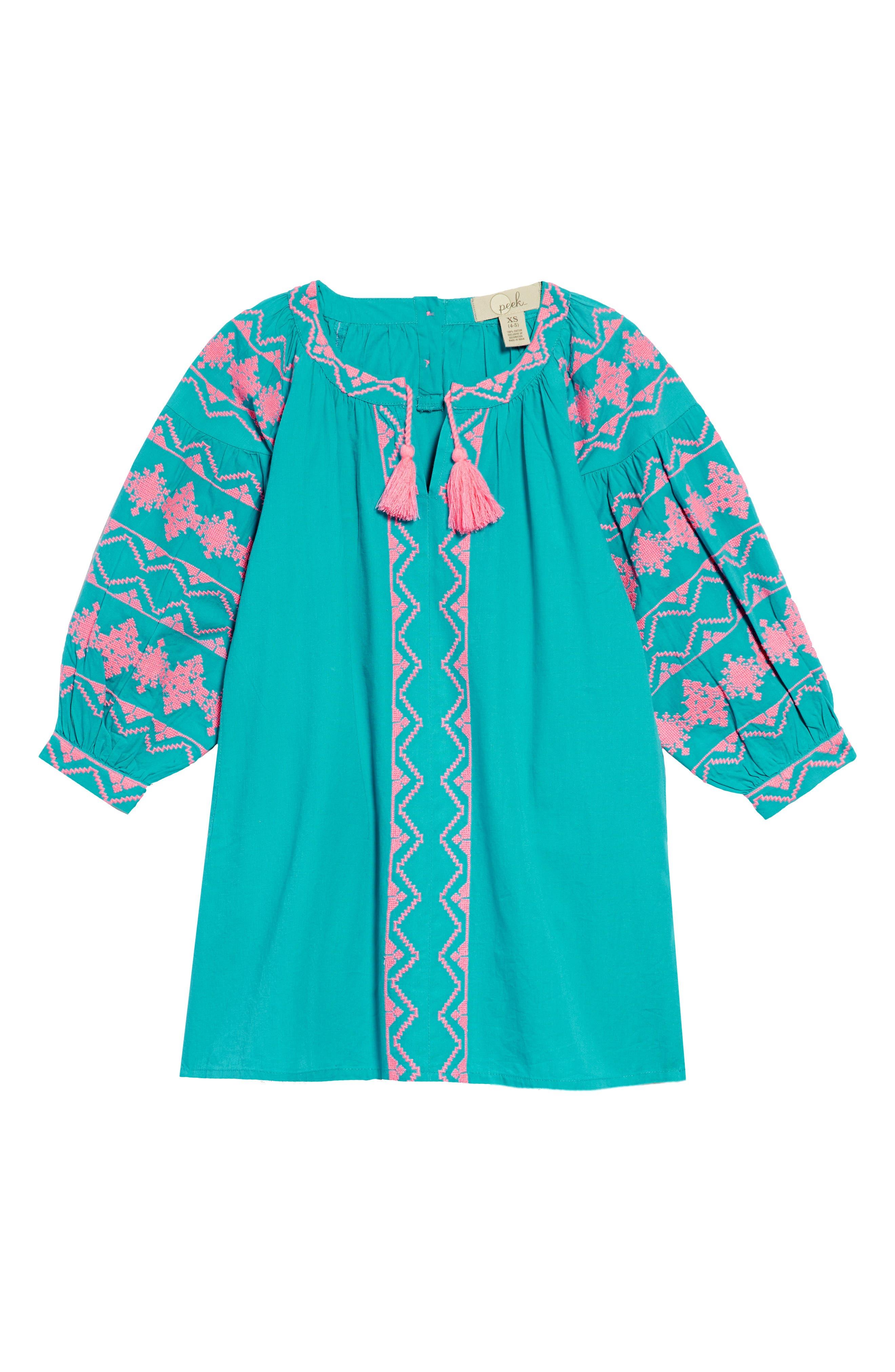 Kellie Embroidered Dress,                         Main,                         color, Teal