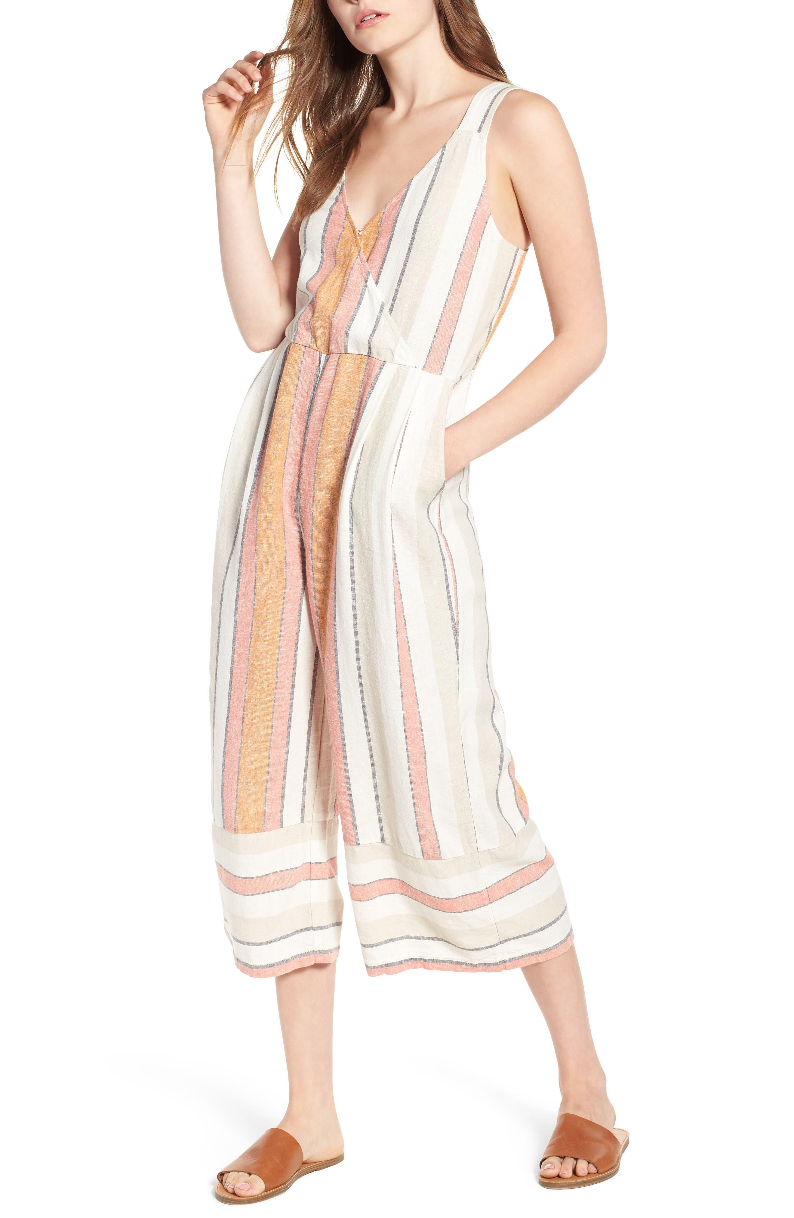 Stripe Surplice Jumpsuit,                             Main thumbnail 1, color,                             Ivy 70S Vertical Stripe