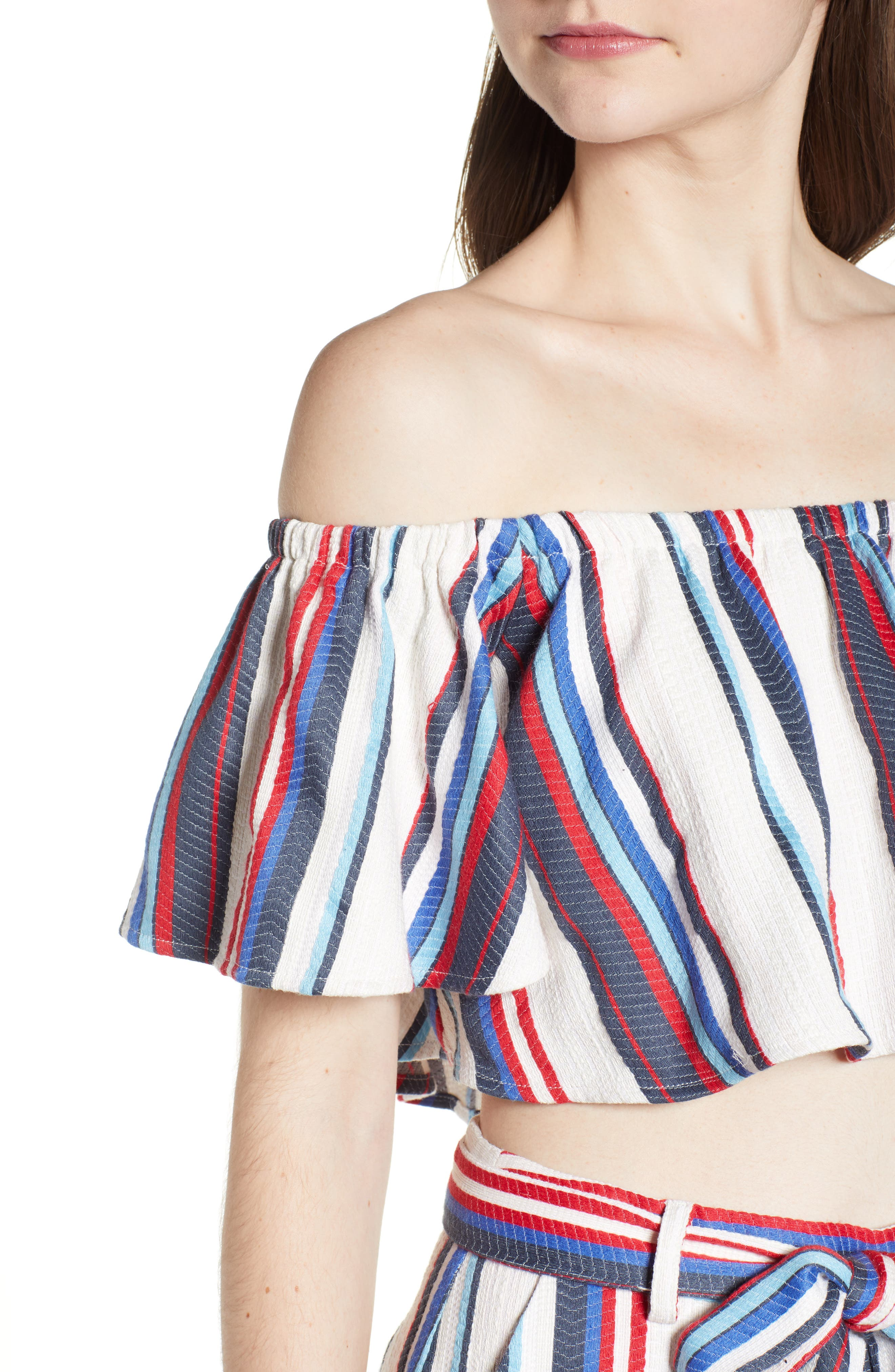 Azul Stripe Off the Shoulder Crop Top,                             Alternate thumbnail 6, color,                             Blue/ Red Stripe