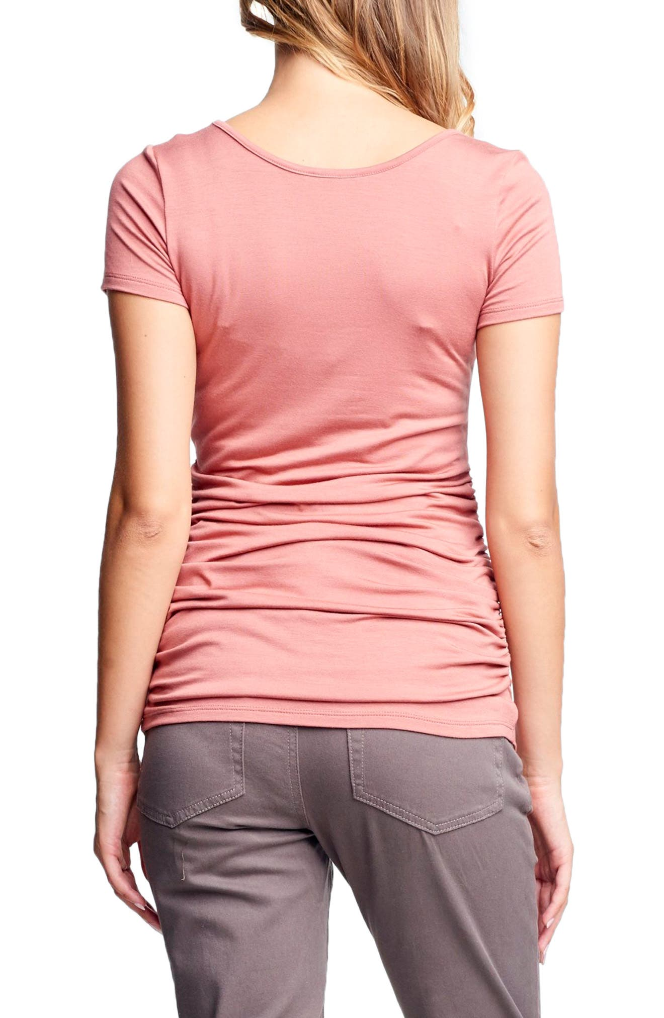 Ruched Maternity/Nursing Tee,                             Alternate thumbnail 2, color,                             Apricot