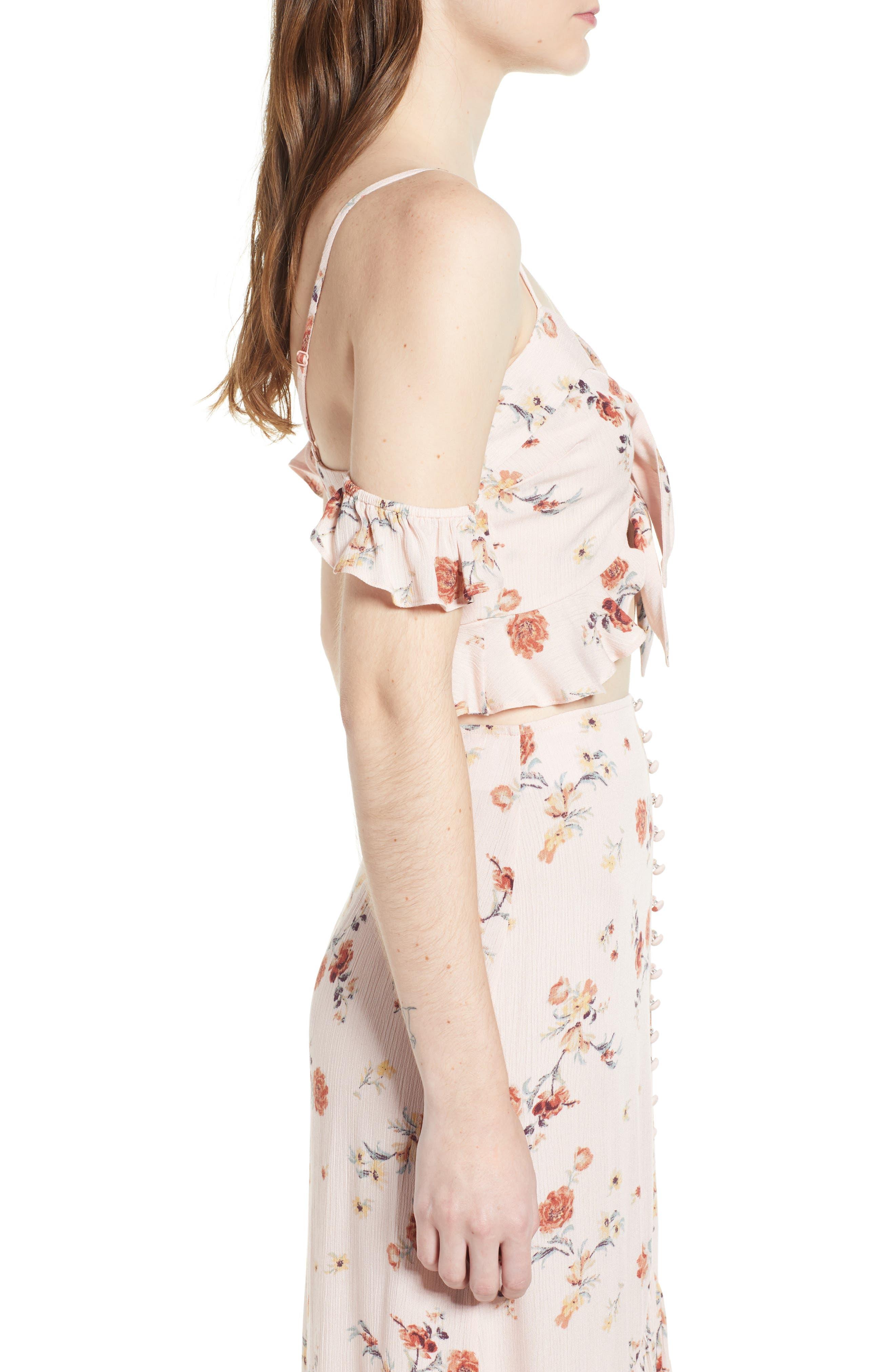 Rosa Floral Tie Front Crop Top,                             Alternate thumbnail 6, color,                             Pink Floral