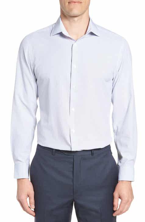 W.R.K Trim Fit Dot 4-Way Stretch Dress Shirt
