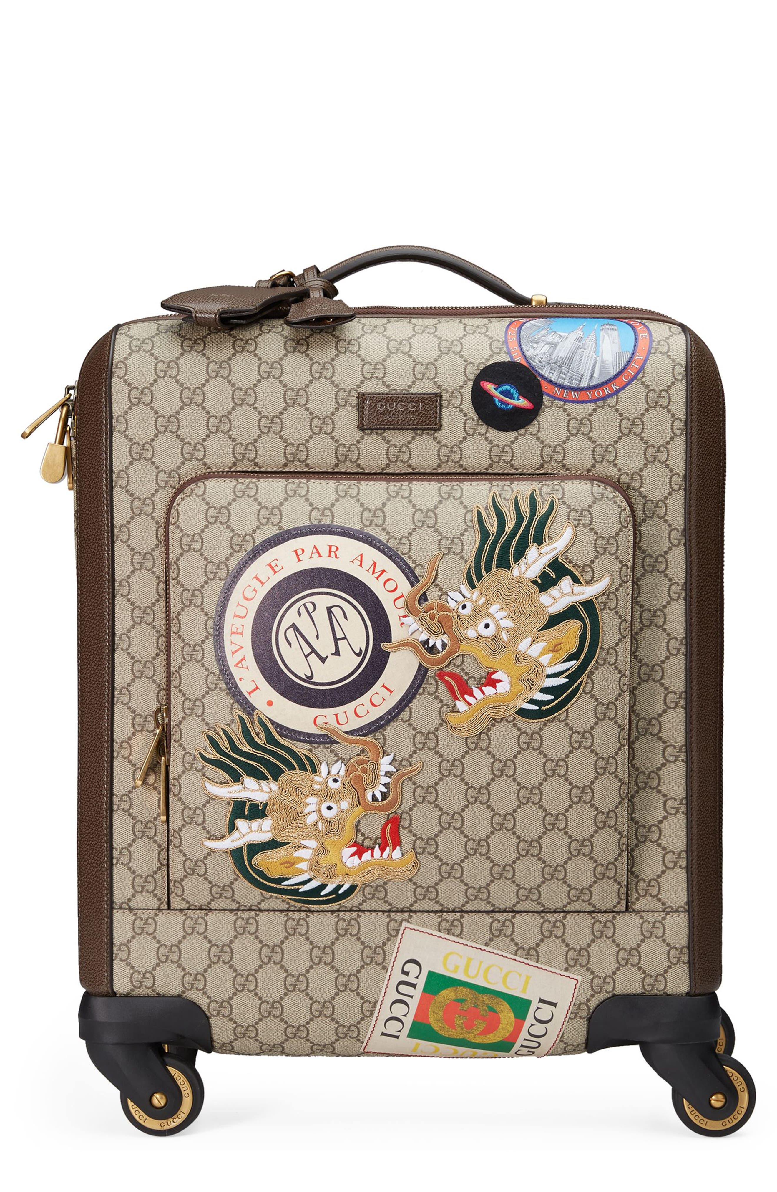 Courier GG Supreme Patches Carry-On,                             Main thumbnail 1, color,                             Beige