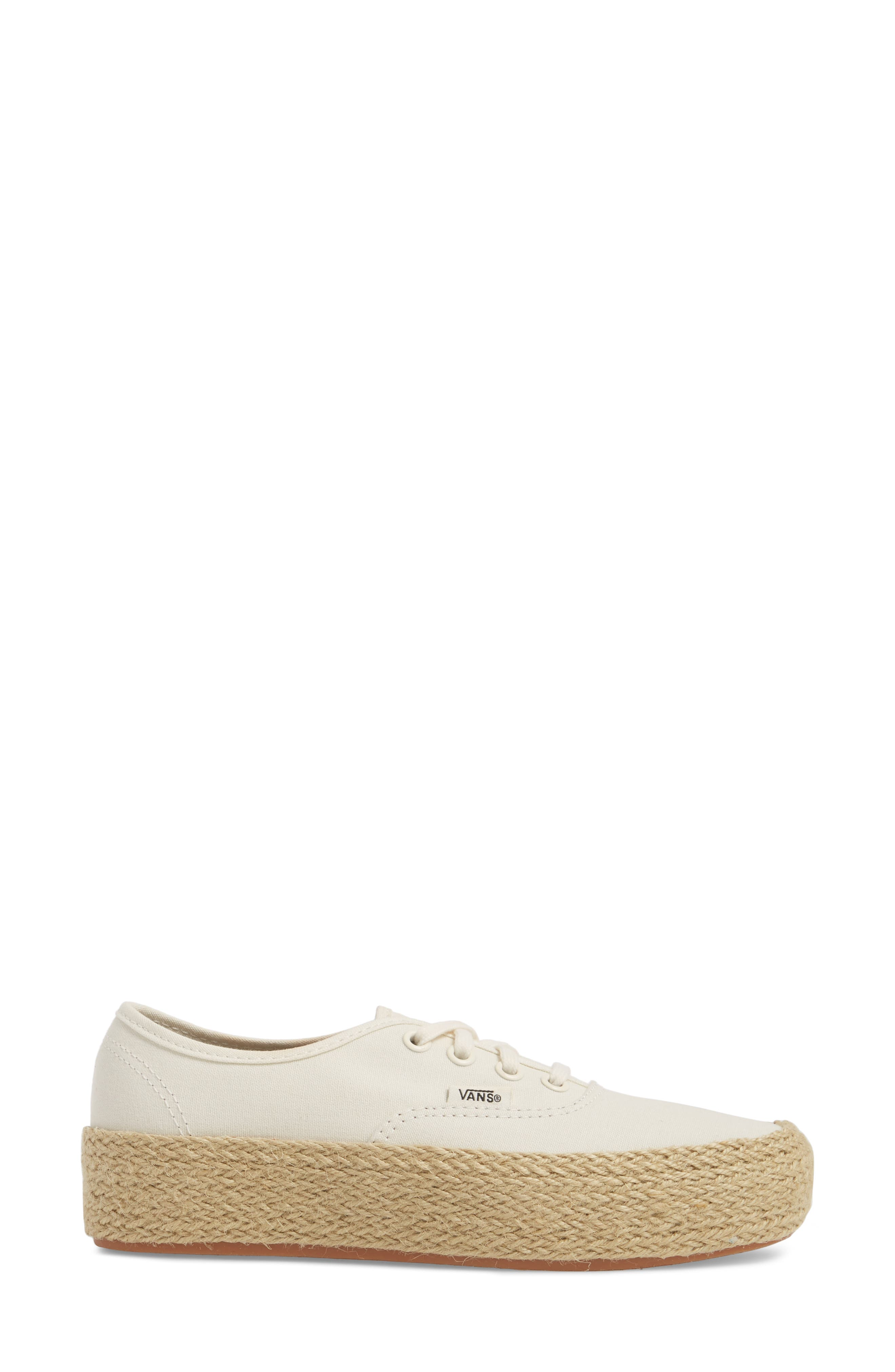 Authentic Espadrille Platform Sneaker,                             Alternate thumbnail 3, color,                             Marshmallow
