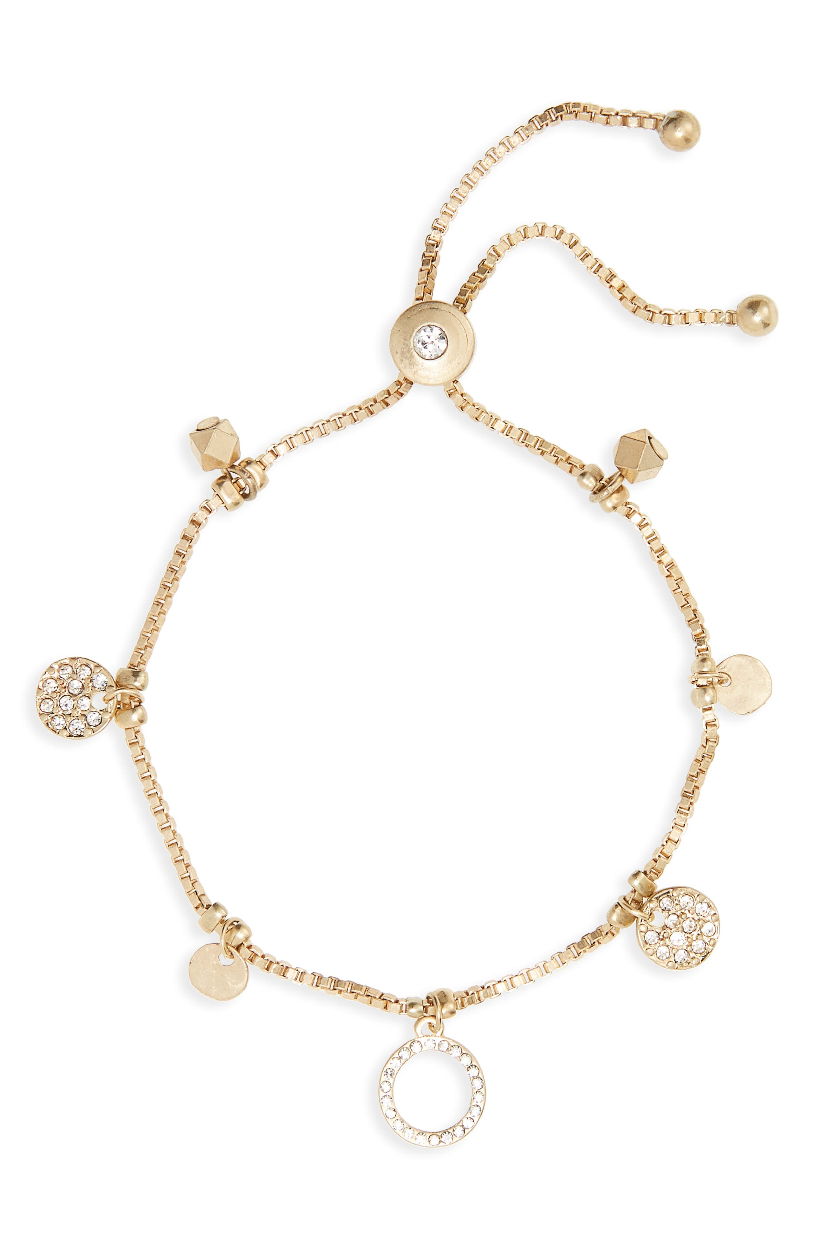 Circle Charm Box Chain Bolo Bracelet,                             Main thumbnail 1, color,                             Gold