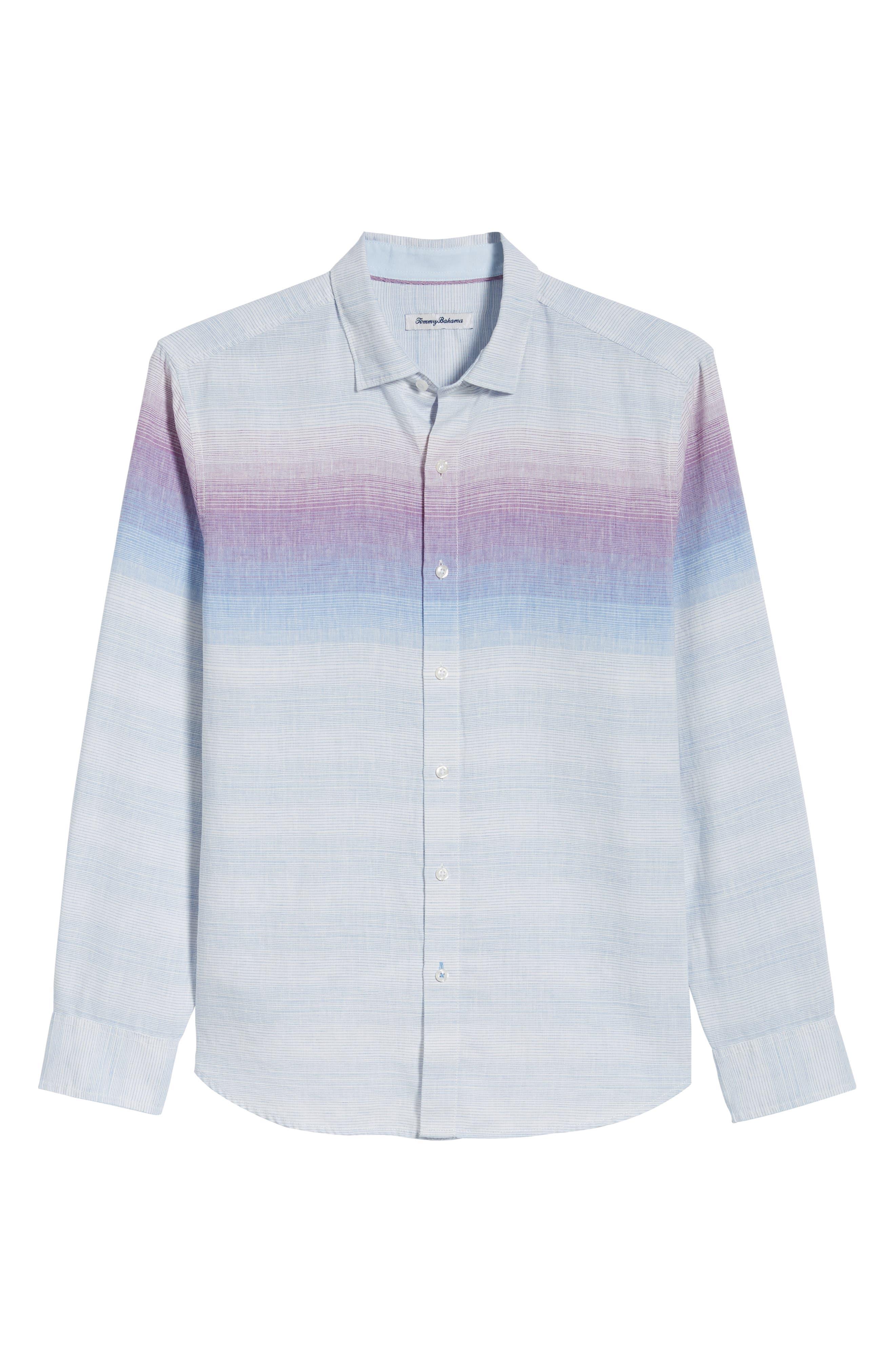 Sunset Ombré Linen Blend Sport Shirt,                             Alternate thumbnail 6, color,                             White