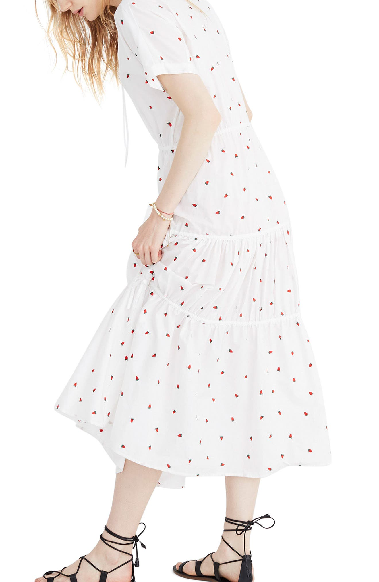 Embroidered Strawberry Tiered Midi Dress,                             Alternate thumbnail 3, color,                             Strawberry Critter White