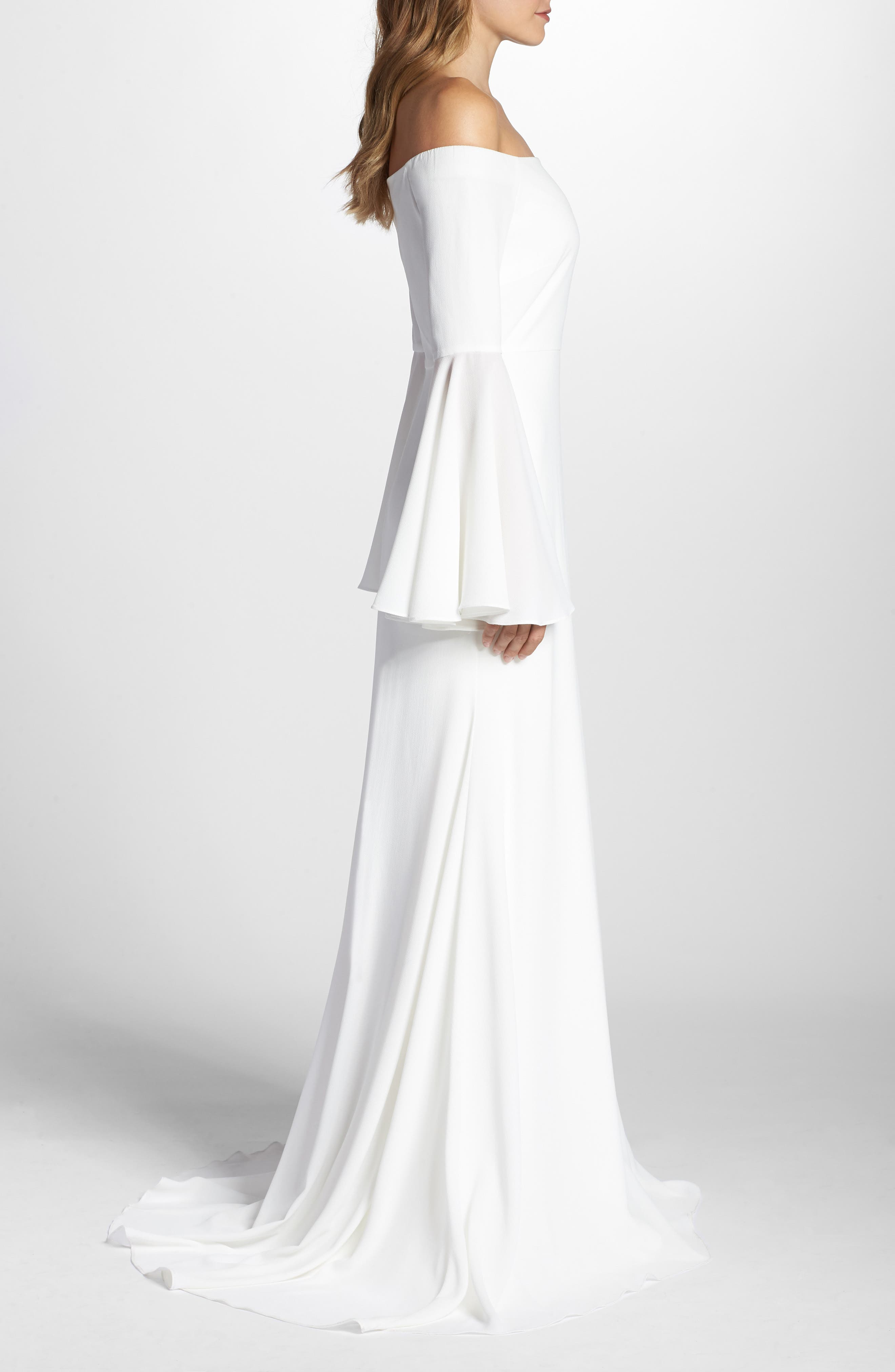Bowie Off the Shoulder Bell Sleeve Gown,                             Alternate thumbnail 3, color,                             White