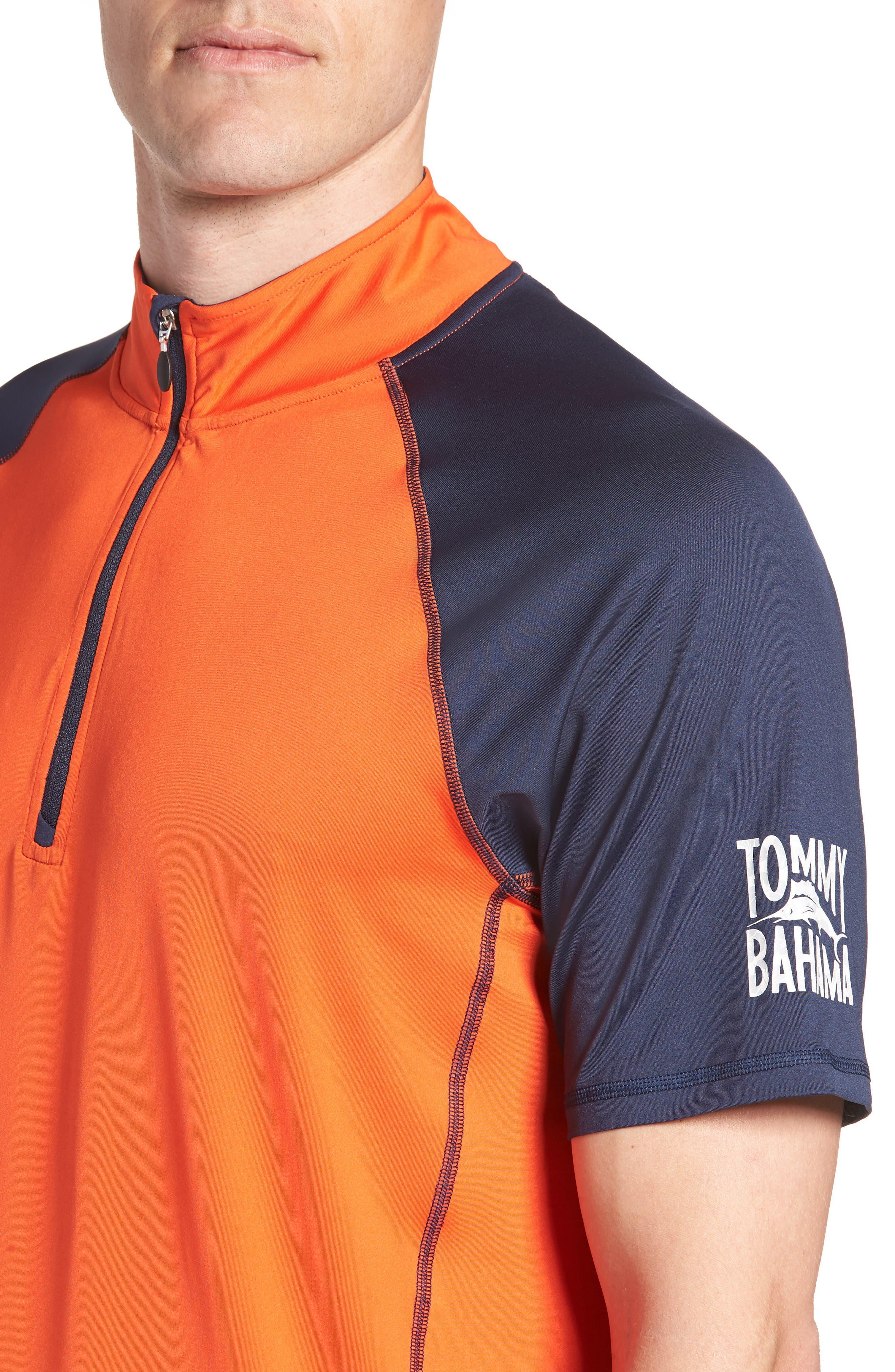IslandActive<sup>™</sup> Colorblock Beach Pro Rashguard T-Shirt,                             Alternate thumbnail 4, color,                             Fire Orange