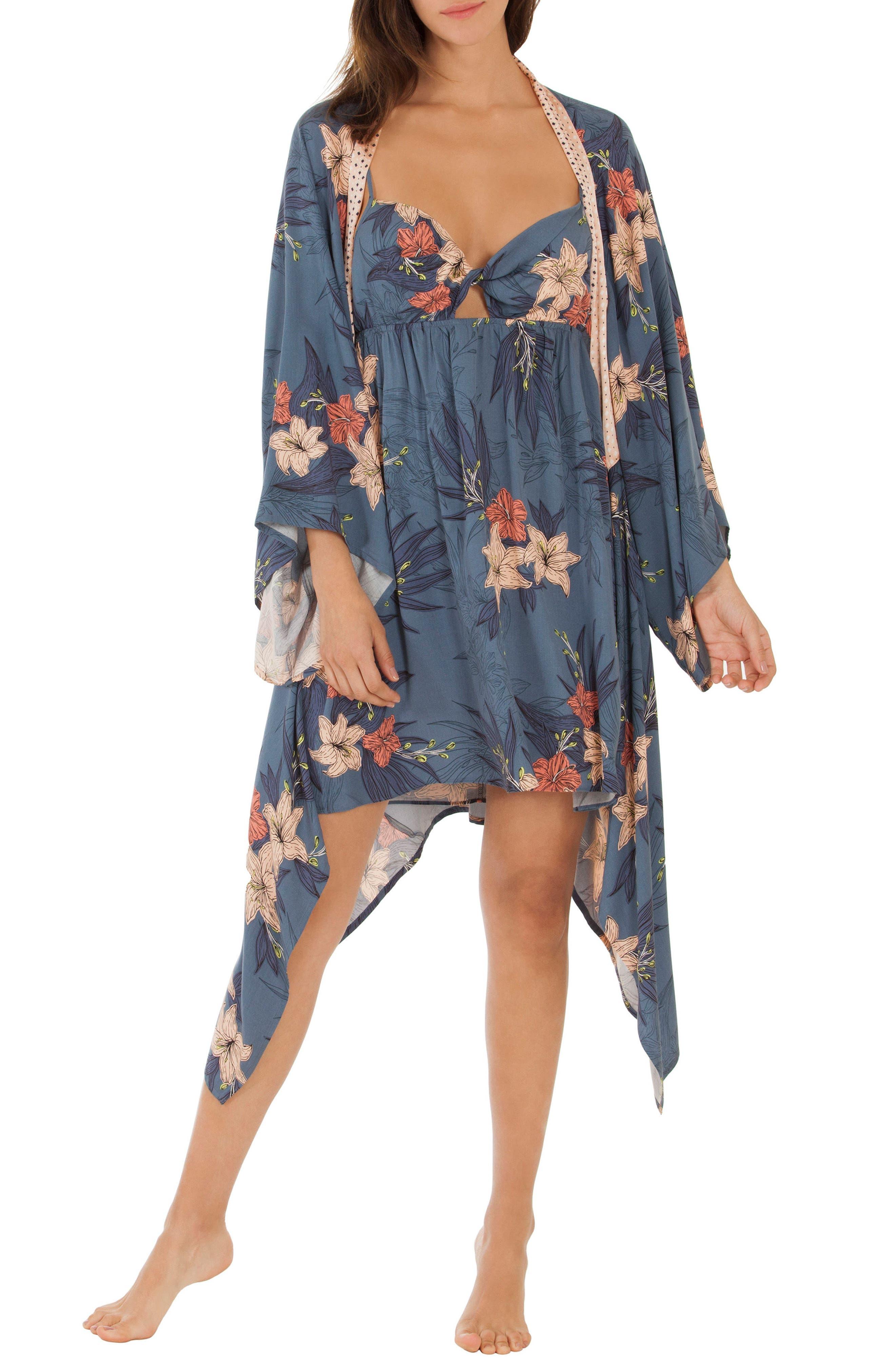 Floral Kimono Robe,                             Main thumbnail 1, color,                             Blue Floral
