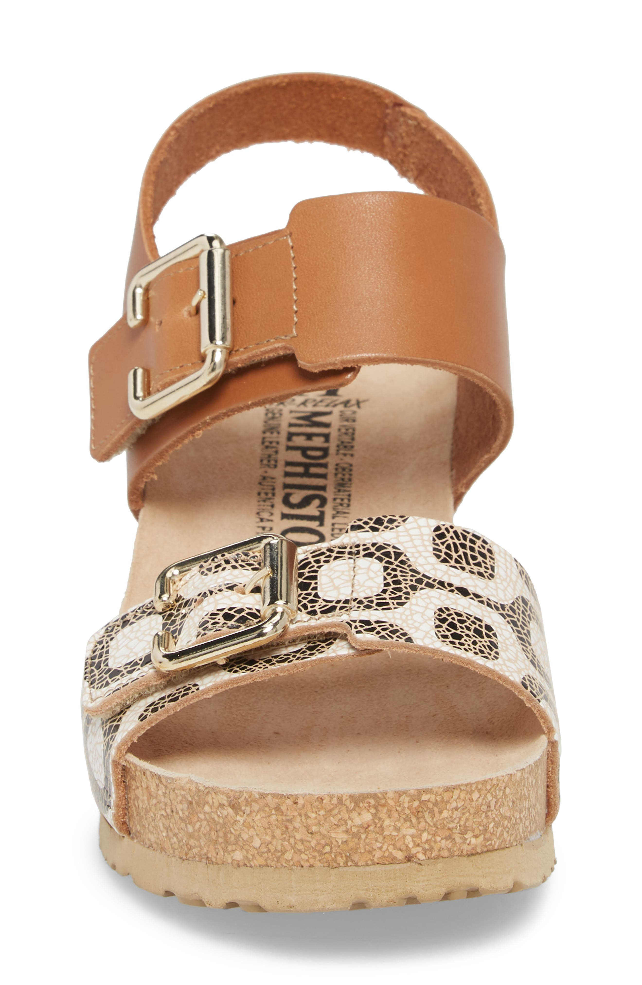 Lissandra Platform Wedge Sandal,                             Alternate thumbnail 4, color,                             Camel